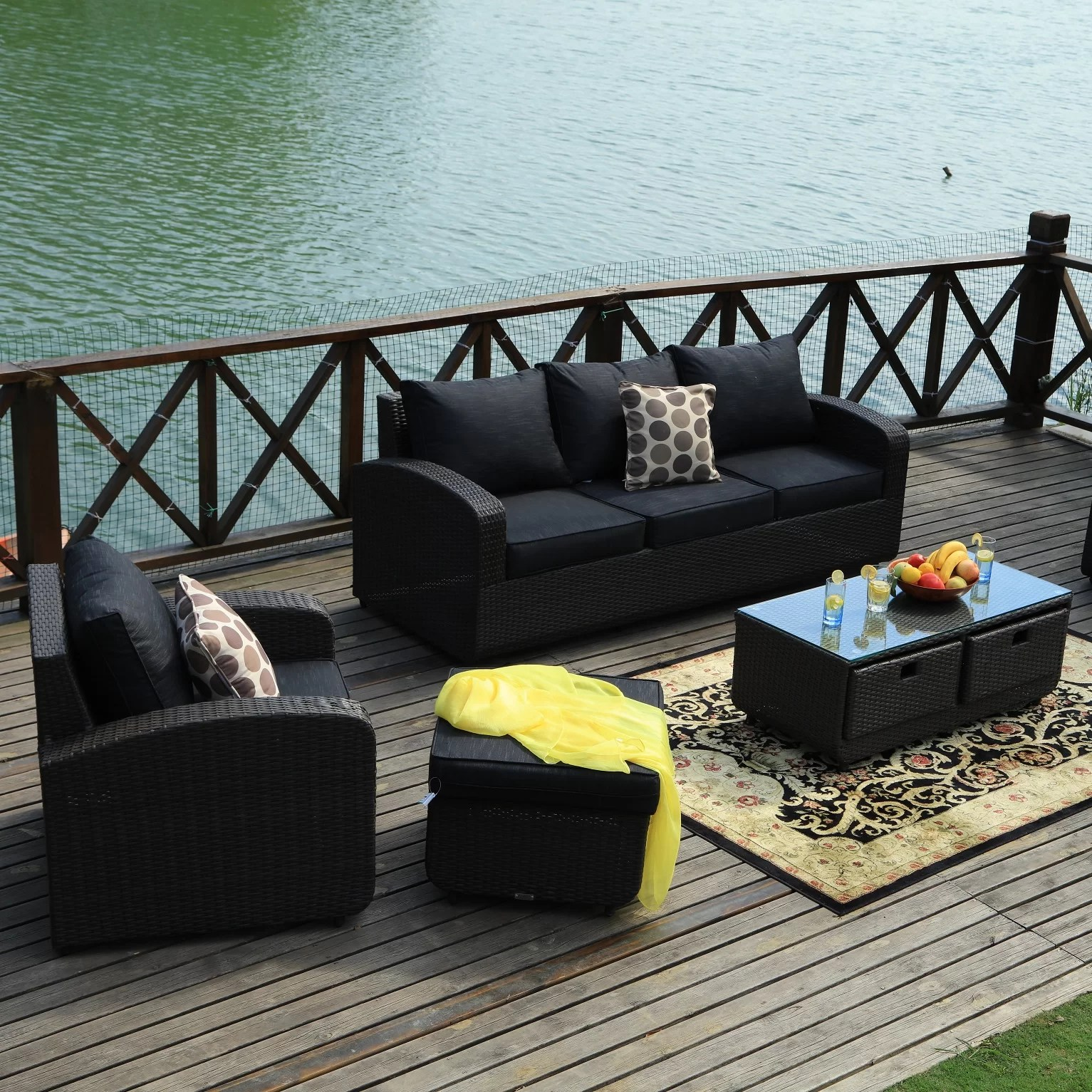 Baptist 6 Piece Rattan Sofa Set With Cushions Latitude Run Belmonte 5 Piece Rattan Sofa Seating Group With Cushions