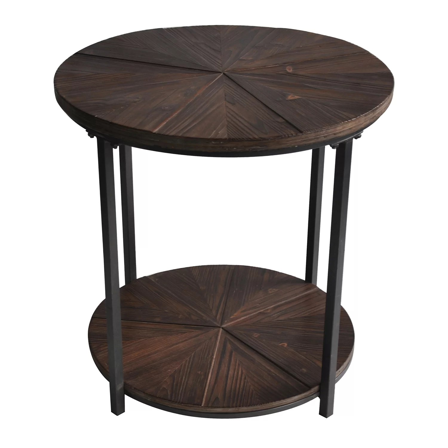 Rustic Wood End Table Gallien Round Metal And Rustic Wood End Table