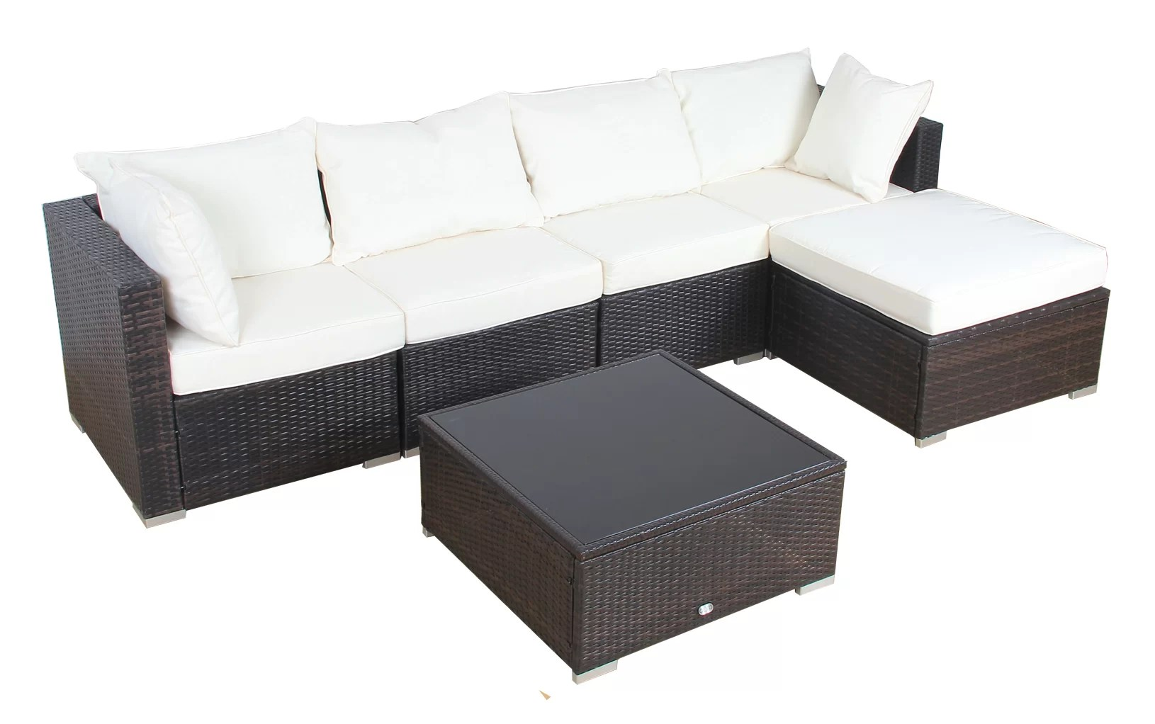Outdoor Sofa Rattan Patio 6 Piece Rattan Sectional Set With Cushions