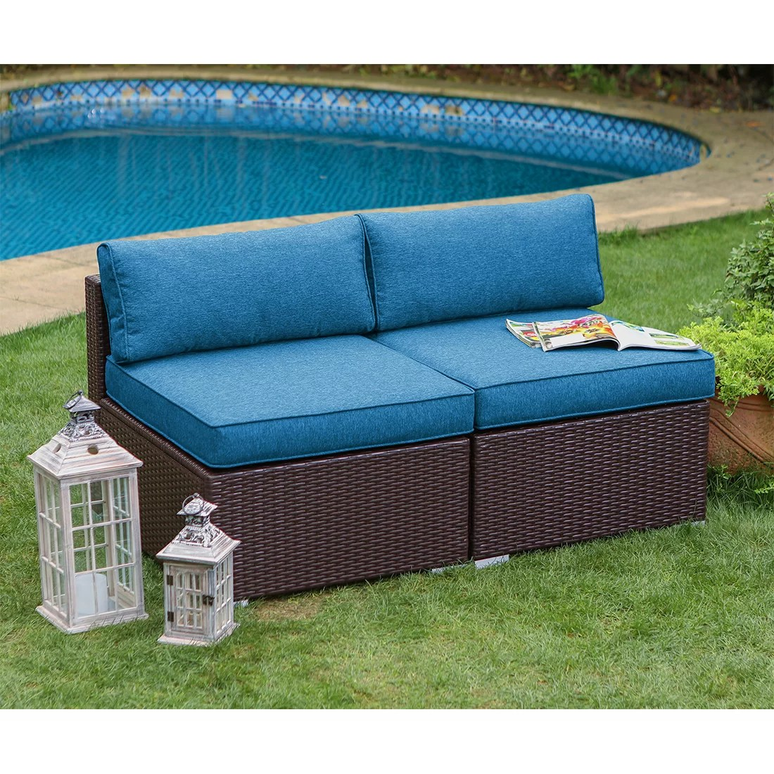 Red Barrel Studio Vita Outdoor Furniture Armless Loveseat With Cushions Wayfair