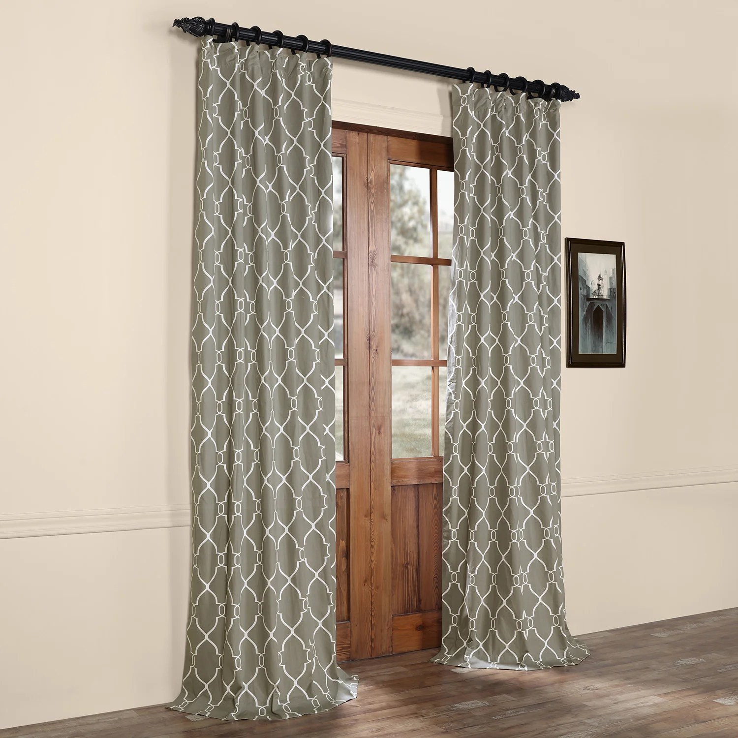 Cotton Curtain Panels Pocono Printed Cotton Rod Pocket Single Curtain Panel