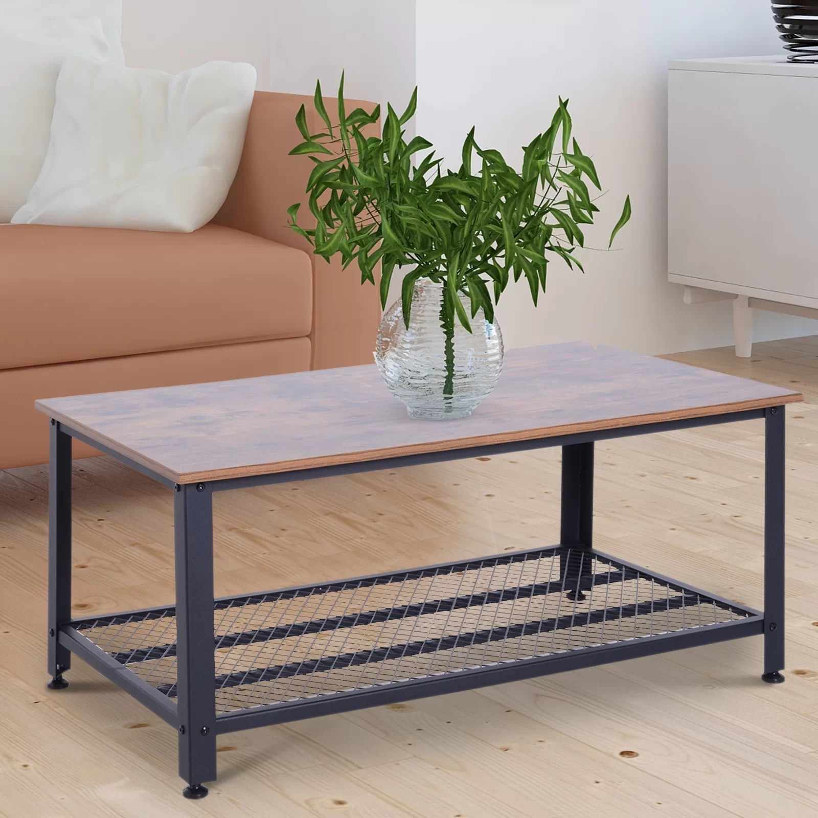 Retro Sofa Wood Tobey Metal And Wood Grain Coffee Table