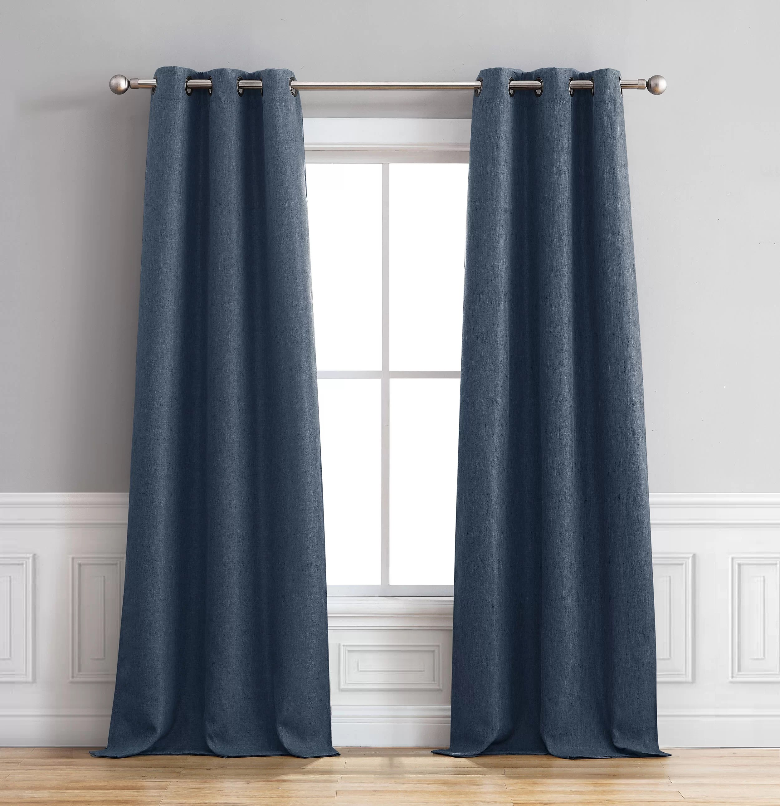 Curtain Insulation Fabric Sokol Faux Linen Room Darkening Thermal Grommet Curtain Panels