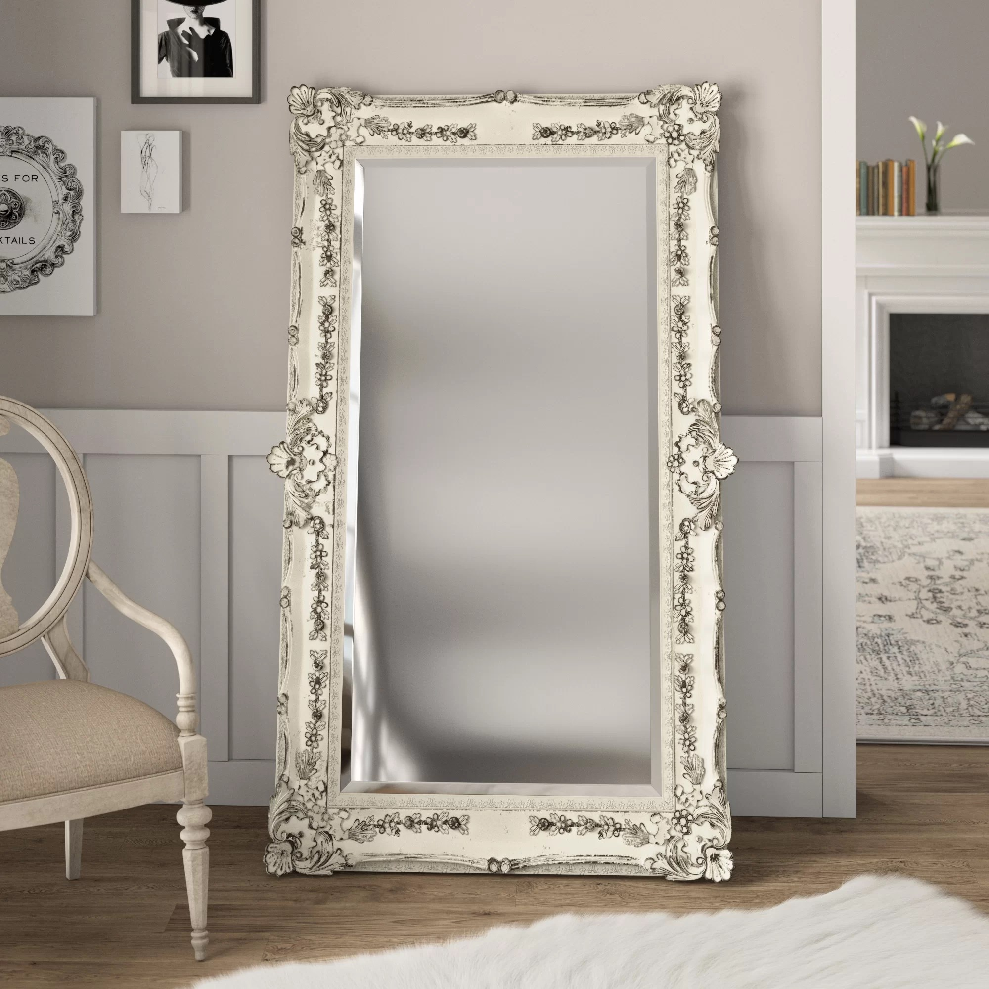 White Floor Mirror Antique Full Length Mirror