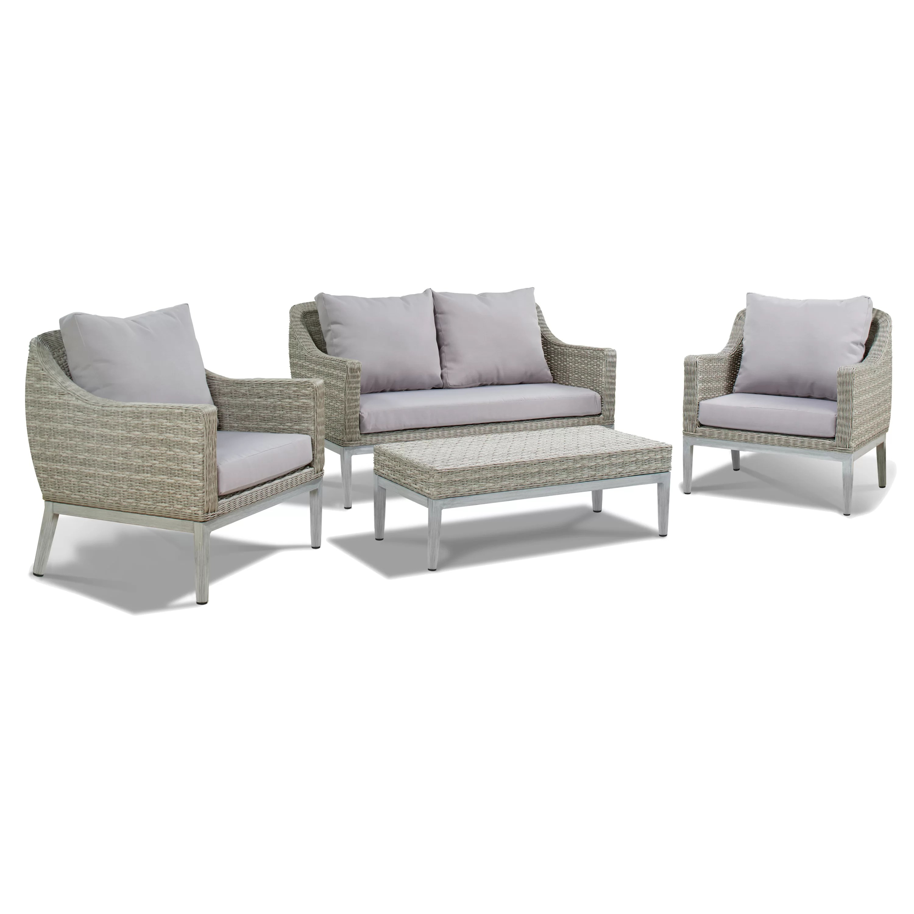 Rattan Sofa Lyndell 4 Piece Rattan Sofa Seating Group With Cushions