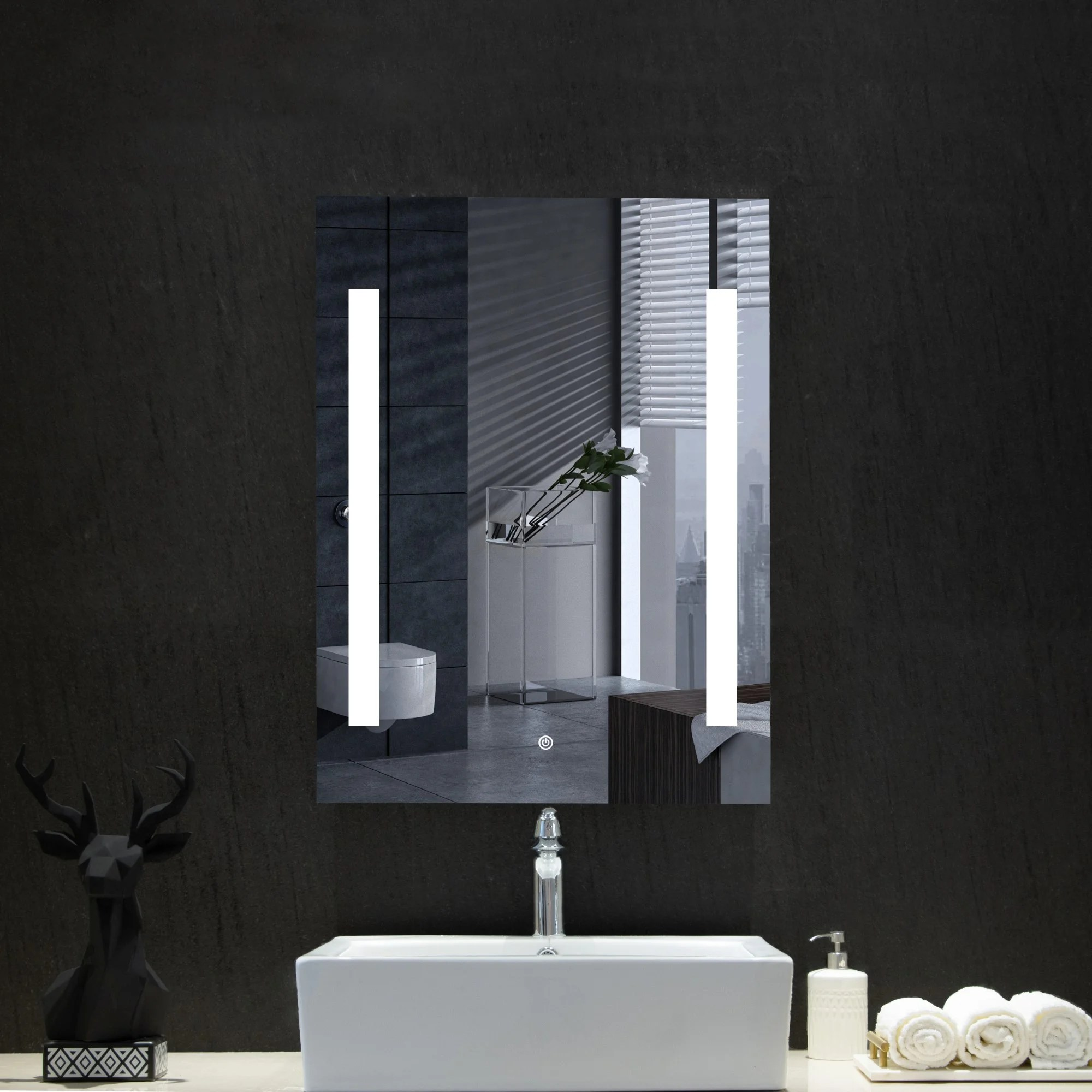 Orren Ellis Shenorock Modern Contemporary Lighted Bathroom Mirror Wayfair Ca