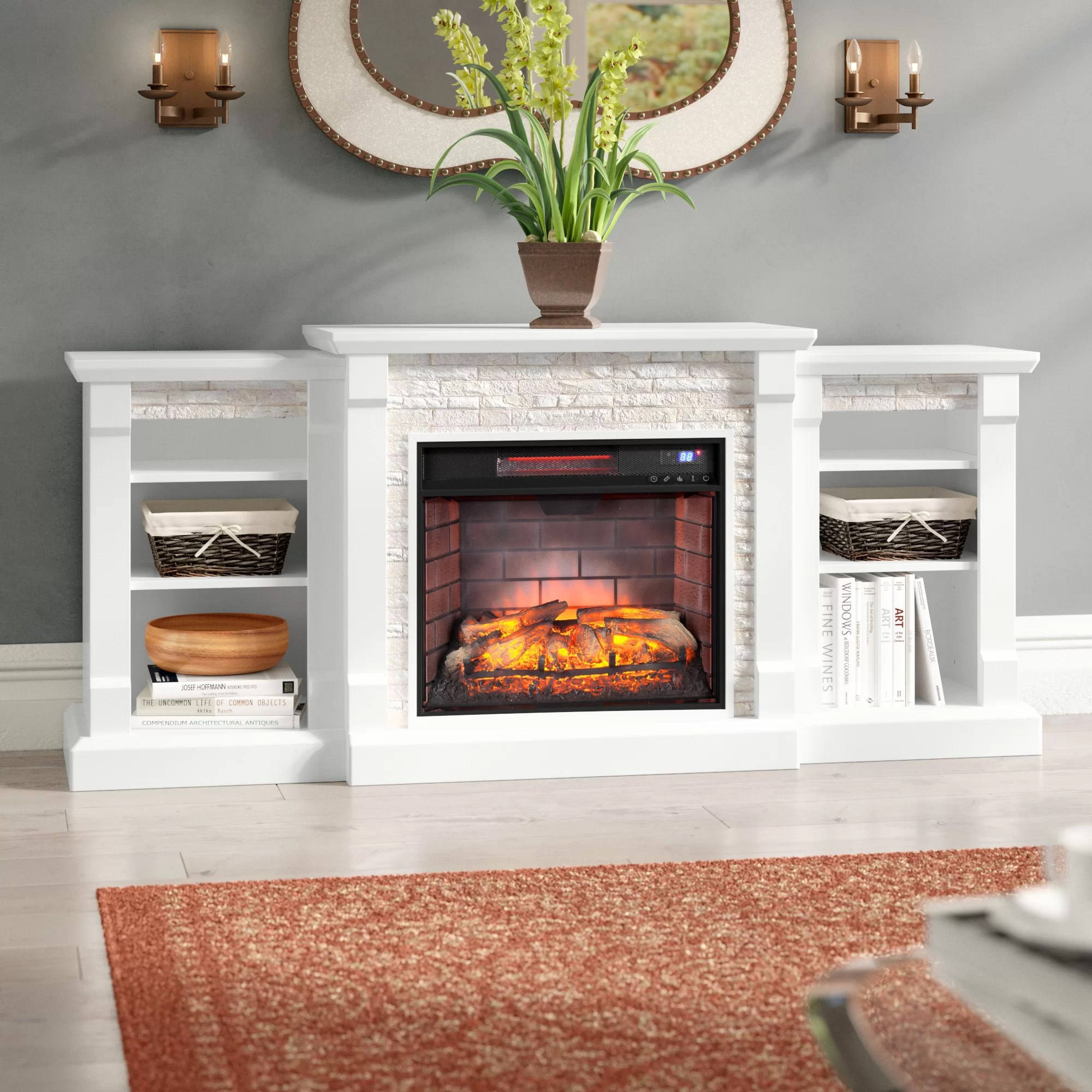 Living Room Electric Fireplace Hazelwood Simulated Stone Infrared Electric Fireplace