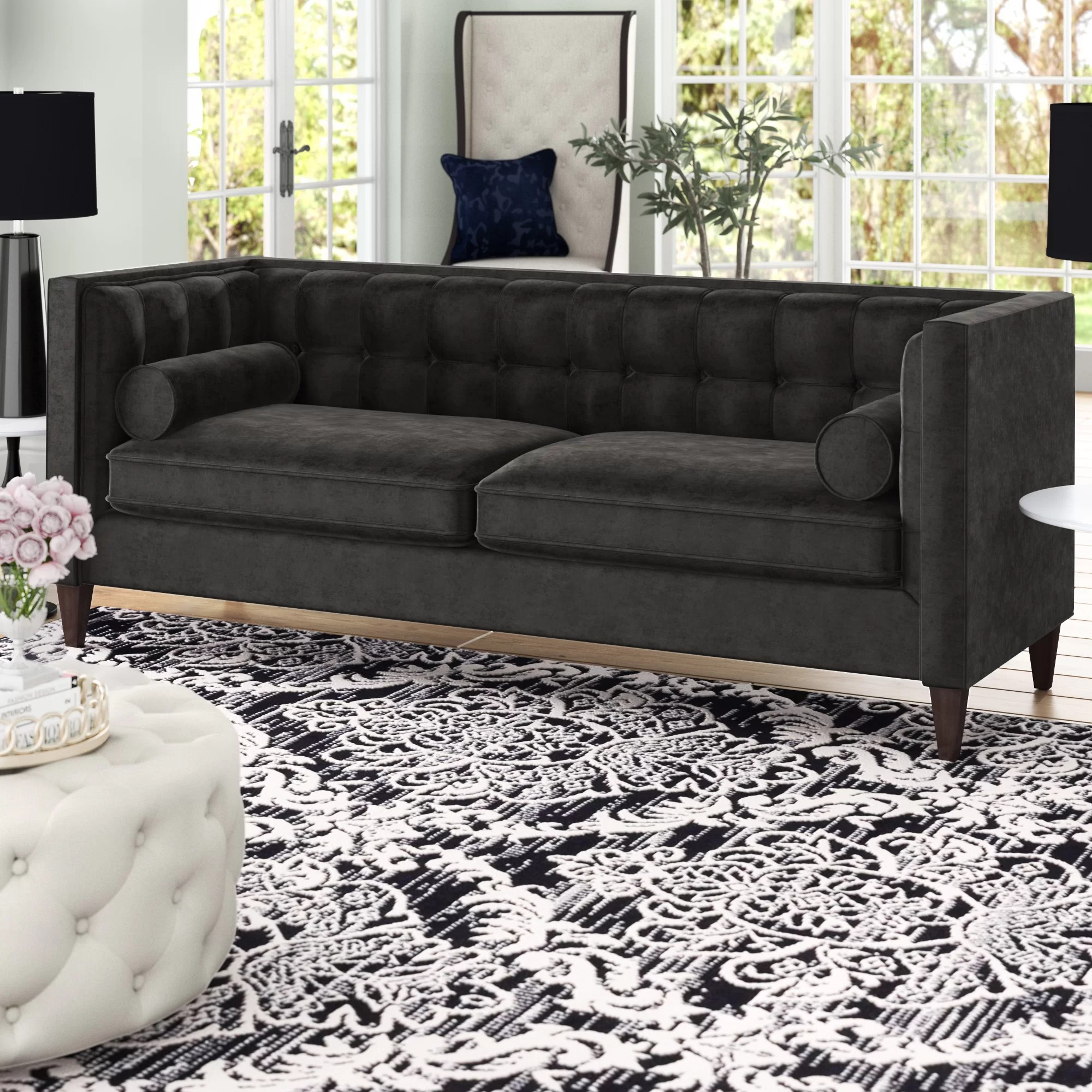 Sofa In Chesterfield Look Harcourt Tuxedo Chesterfield Sofa