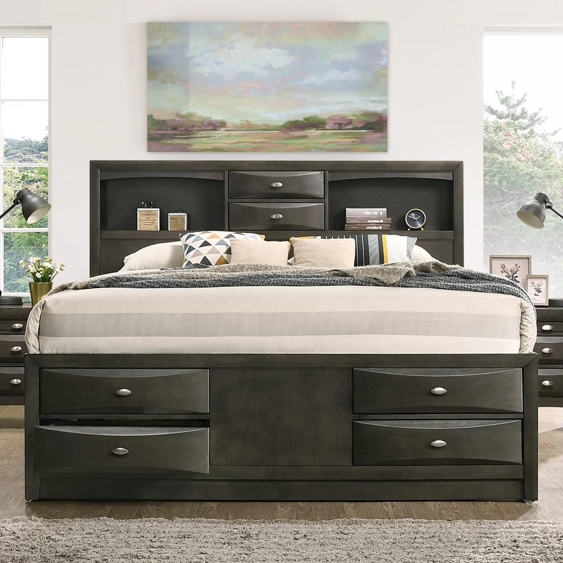 Bed Headboard Carle Bookcase Headboard Platform Bed