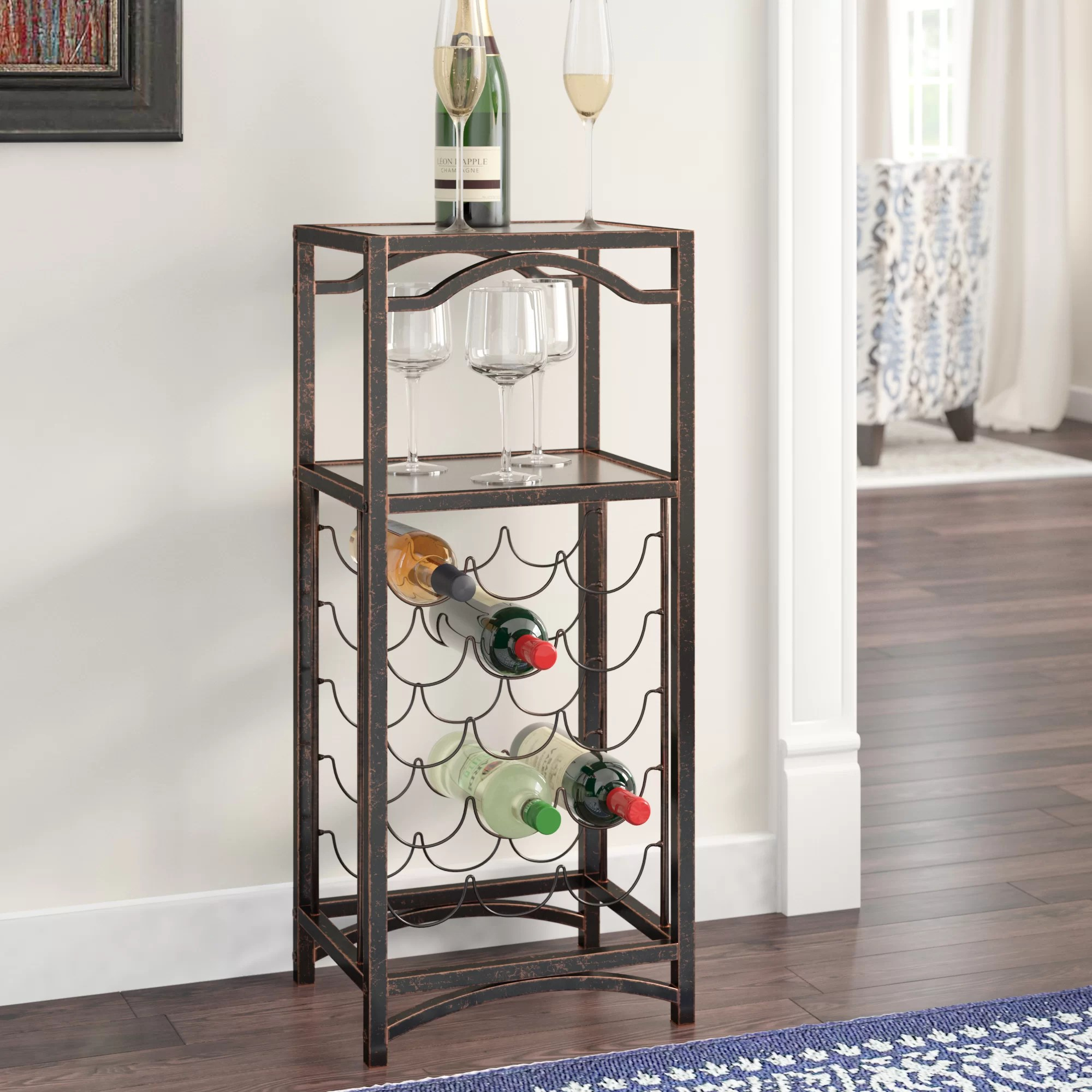 Metal Wine Storage Racks Floyd Metal Storage 15 Bottle Floor Wine Bottle Rack
