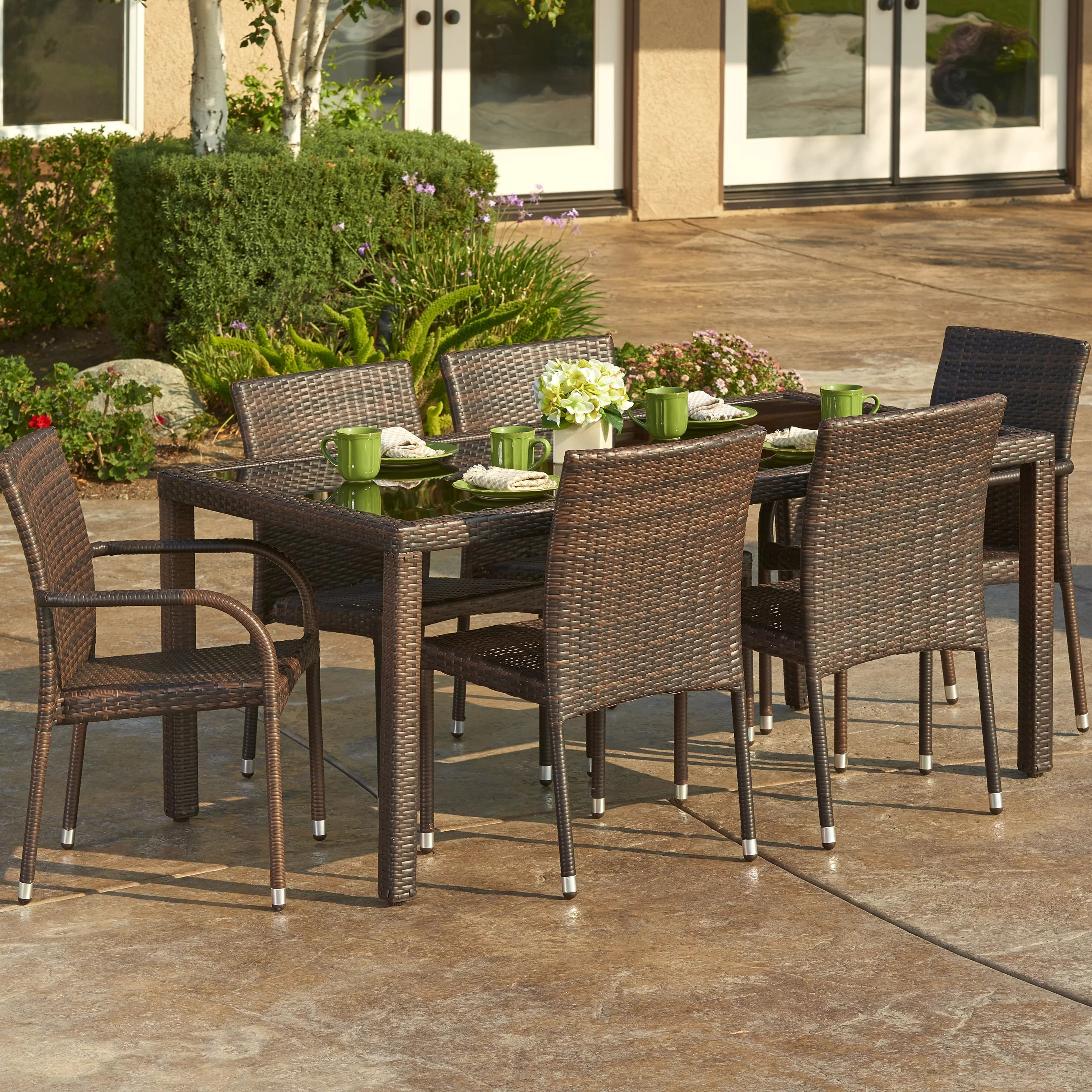 Outdoor Patio Furniture Dining Table 7 Piece Outdoor Wicker Dining Set