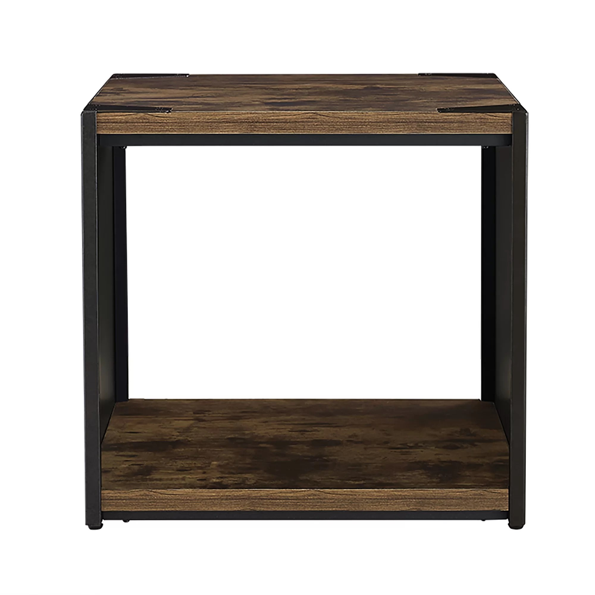Rustic Wood End Table Comet Steel Plate And Wood End Table