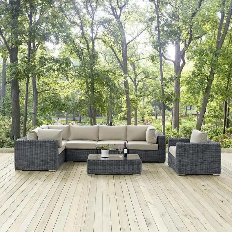 Modway Summon 7 Piece Sectional Deep Seating Group with Cushion - 7 piece living room set