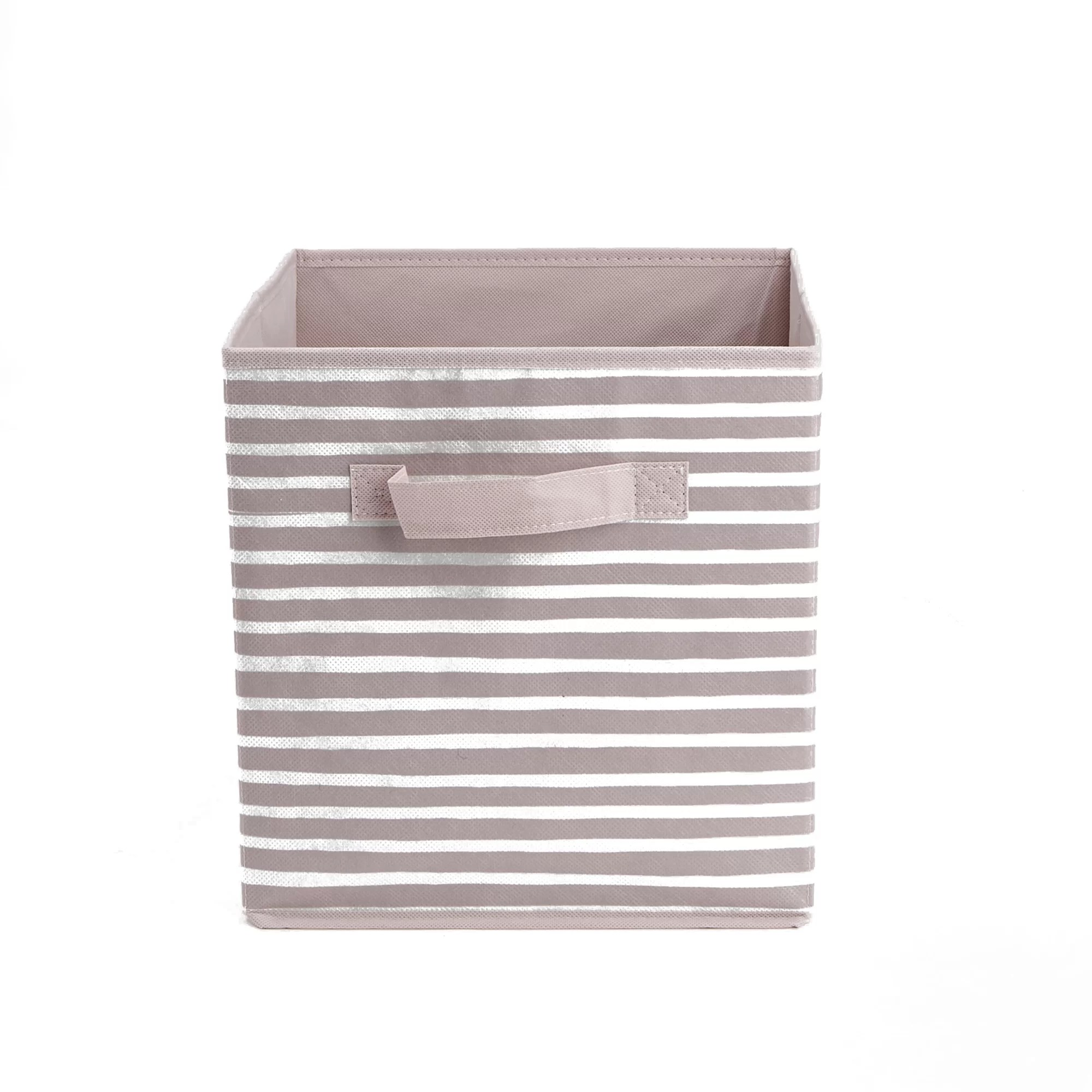 Pink Bins Mind Reader Storage Bin Stripes Design Foldable Storage Basket With Handles Decorative Storage Bins Cube Organizer Bin Bathroom Bedroom