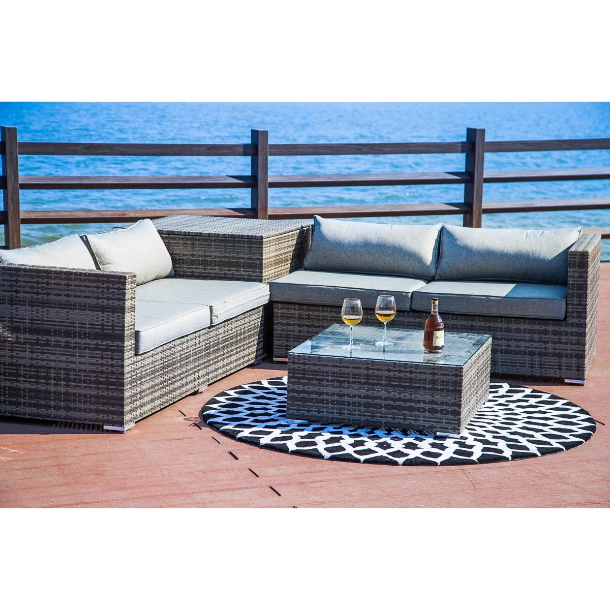 Baptist 6 Piece Rattan Sofa Set With Cushions Brayden Studio Vankirk 4 Piece Sectional Set With Cushions