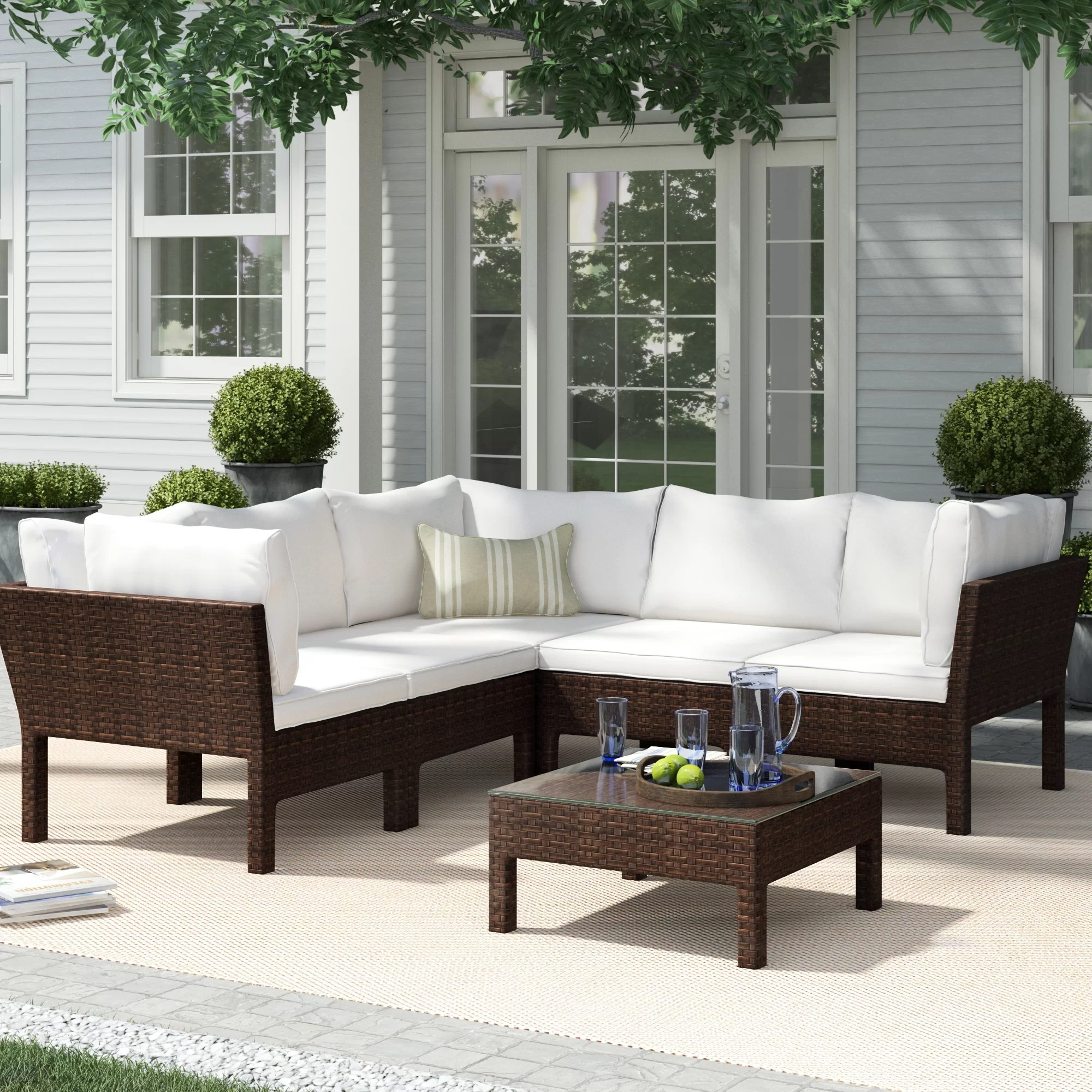 Sofa Entertainment Group Llc Ricci 6 Piece Rattan Sectional Seating Group With Cushions