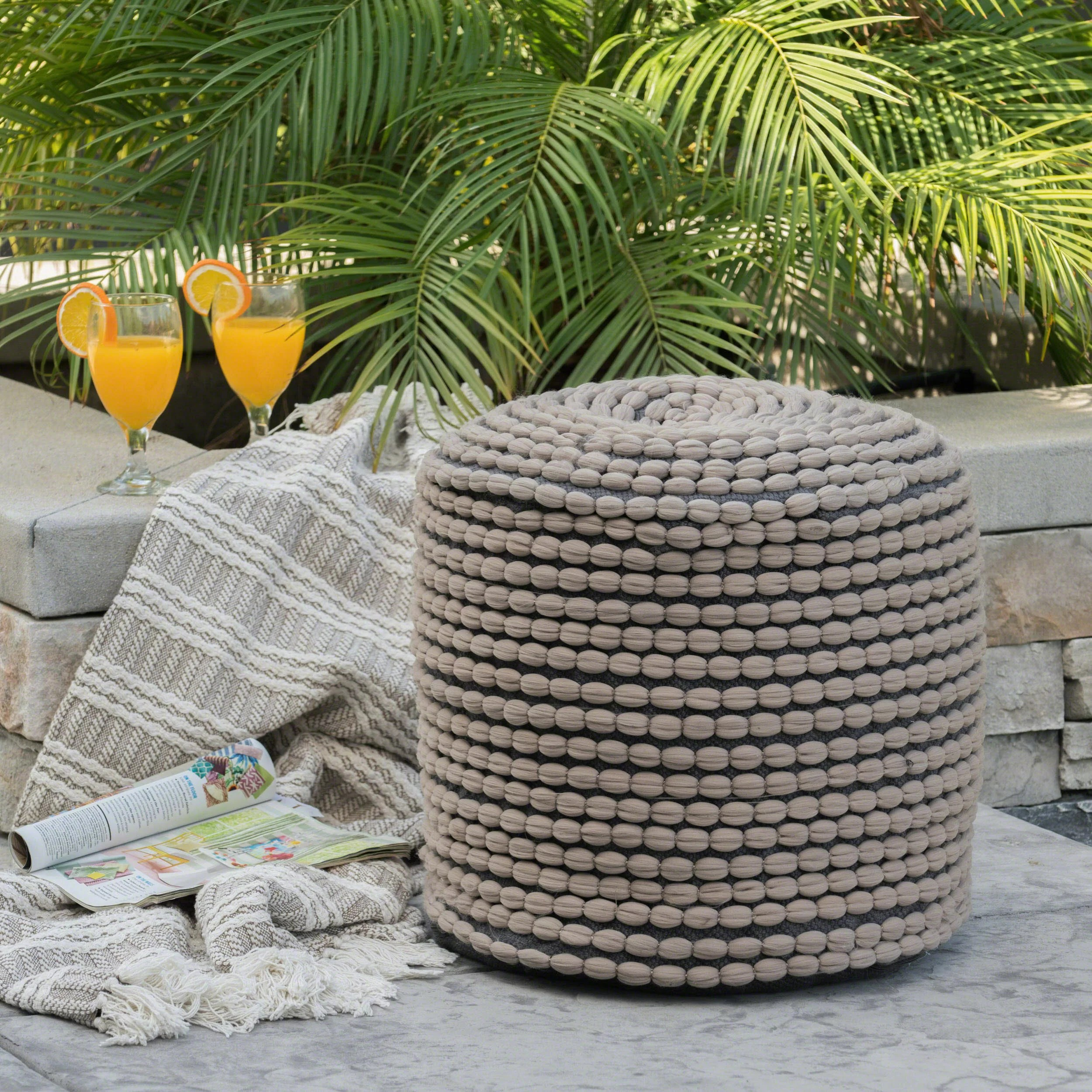 Bloomsbury Market Hinkel Outdoor Pouf Ottoman Reviews Wayfair