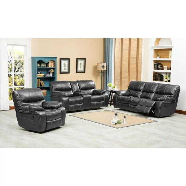 Roundhill Furniture Ewa 3 Piece Leather Living Room Set \ Reviews - 3 piece living room sets