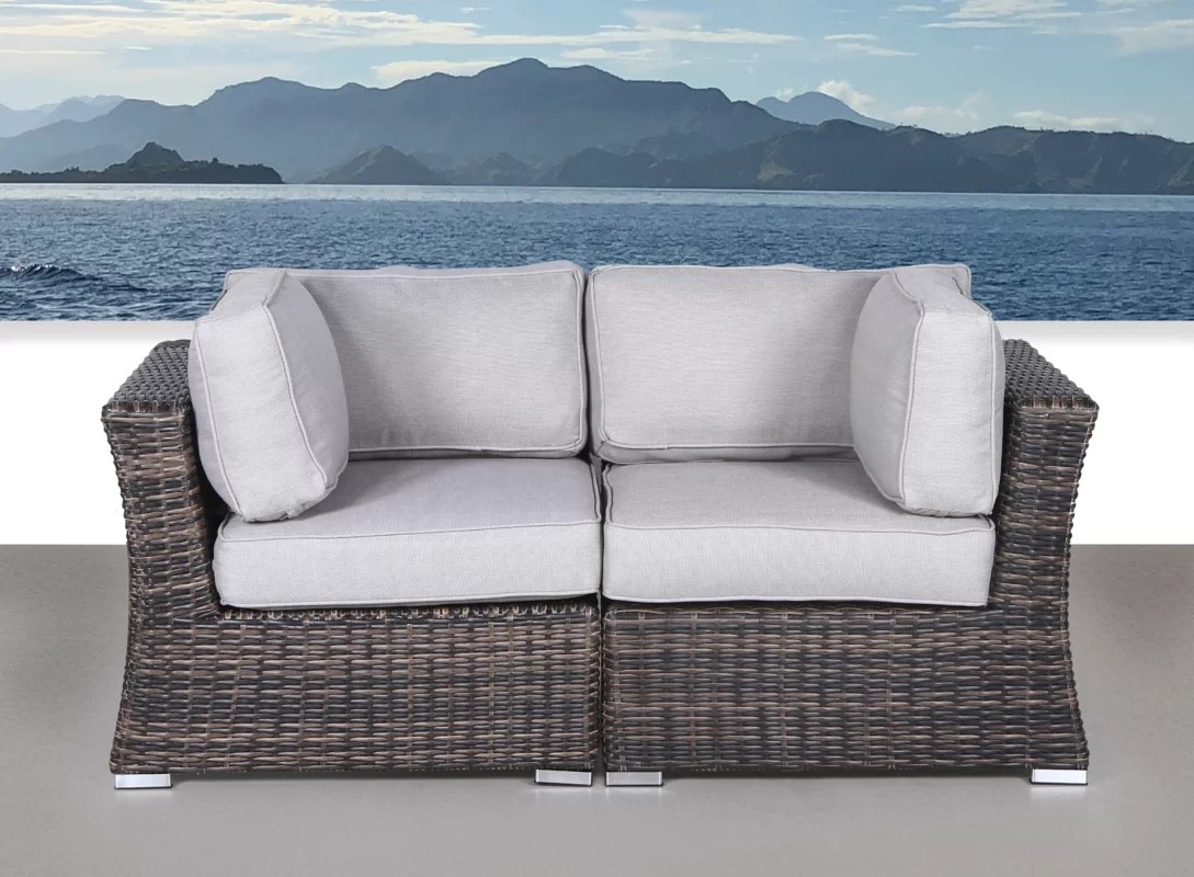 Huddleson Contemporary Loveseat With Cushion By Rosecliff