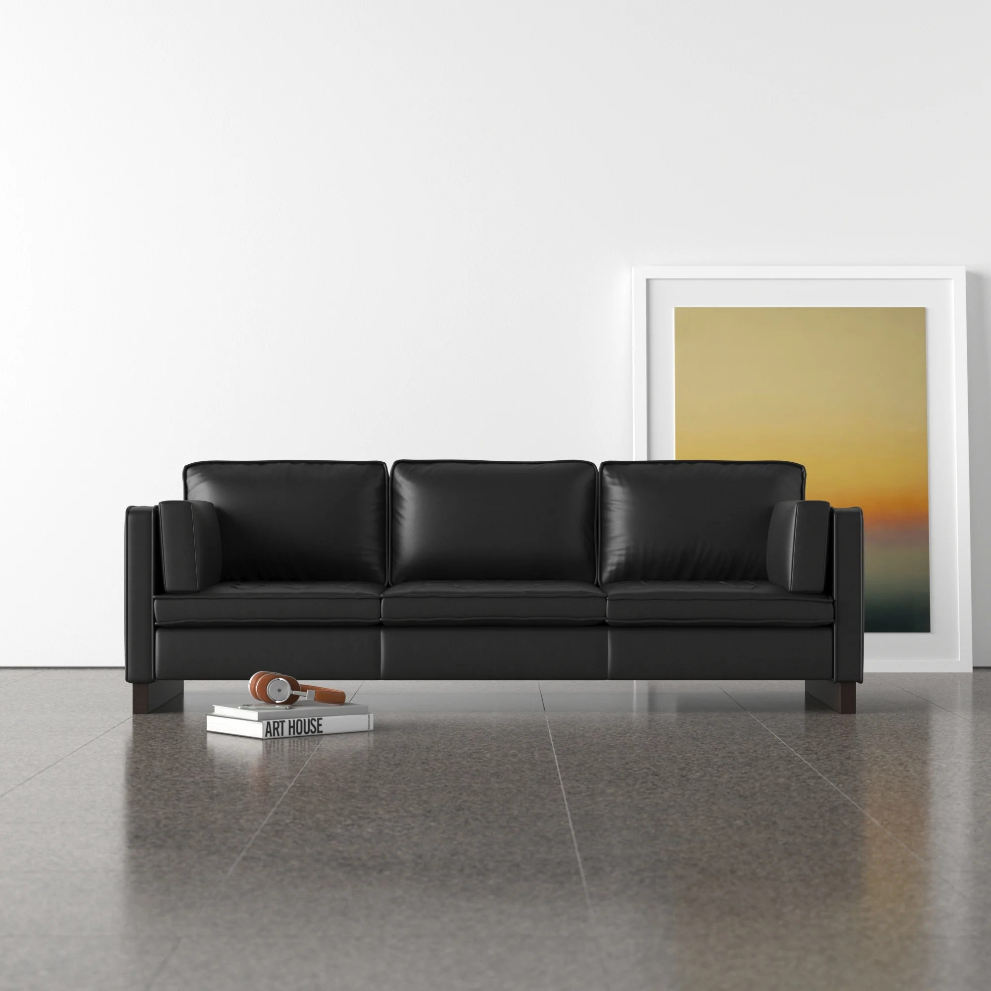 Adrien 88 Genuine Leather Sofa Allmodern