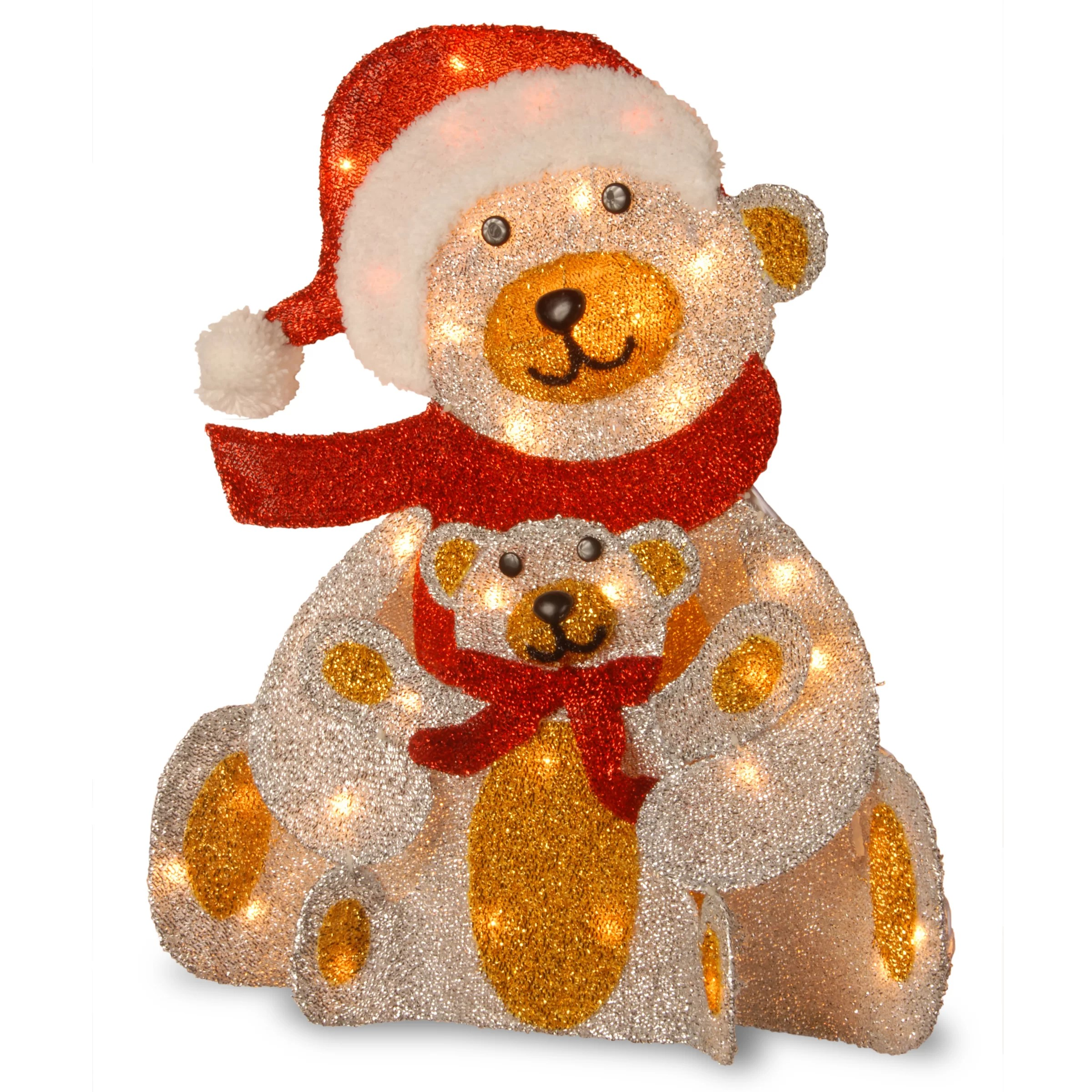 Lit Fabric Pre Lit Fabric Bear Christmas Figurine