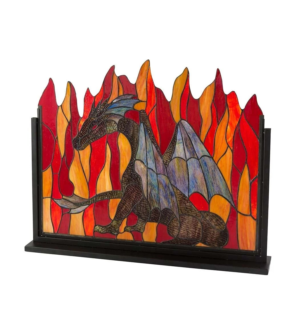 Modern Glass Fireplace Screens Dragon 1 Panel Metal Fireplace Screen