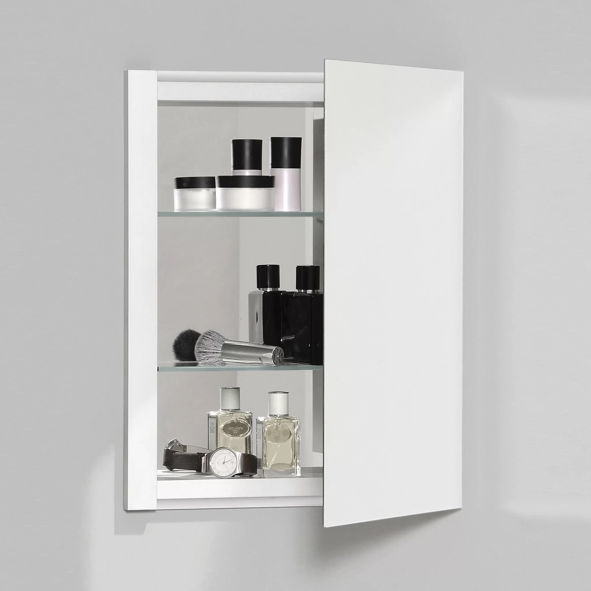 Frameless Mirror Mounting Kit R3 Series Recessed Or Surface Mount Frameless Medicine Cabinet With 3 Adjustable Shelves