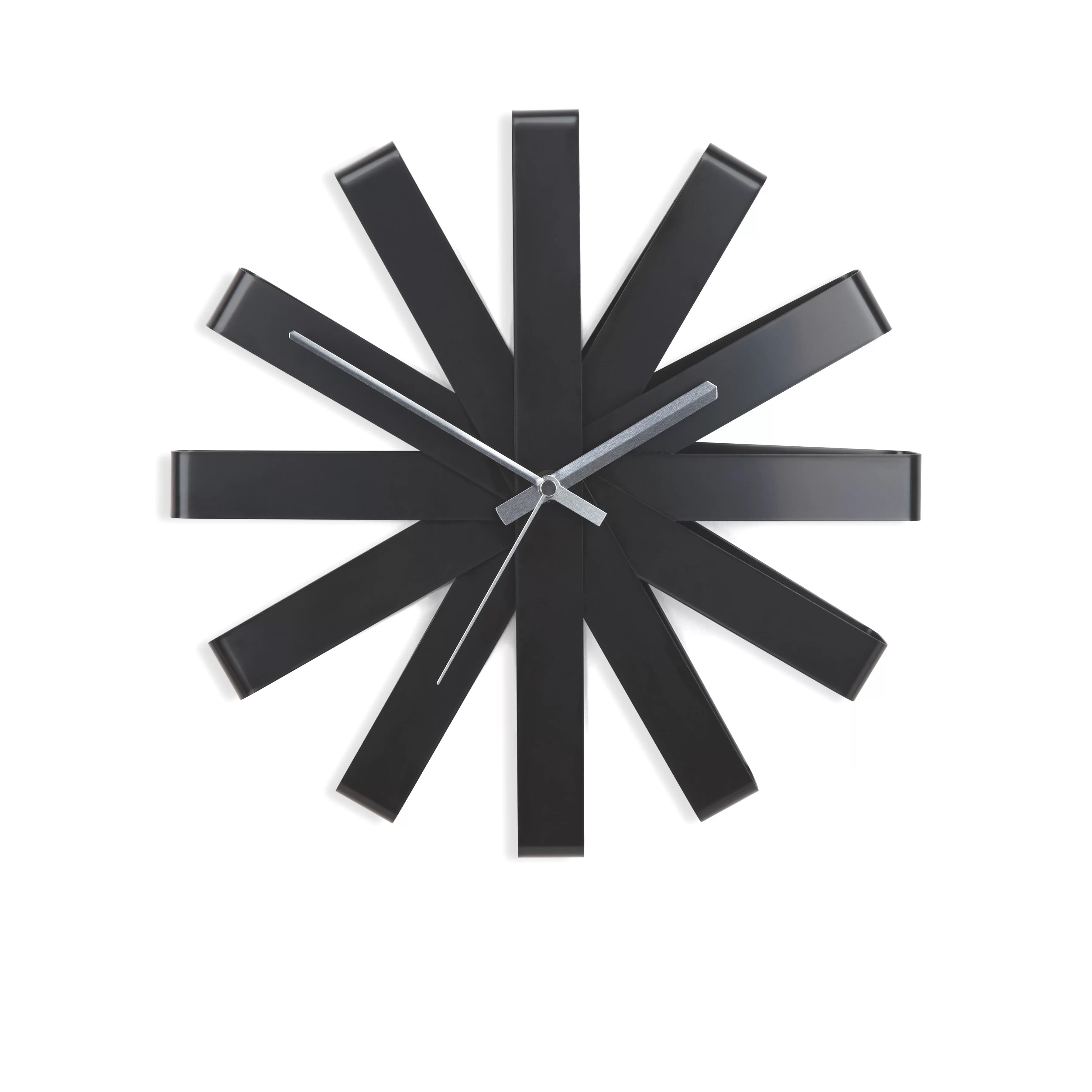 Black Wall Clock Ribbon 12