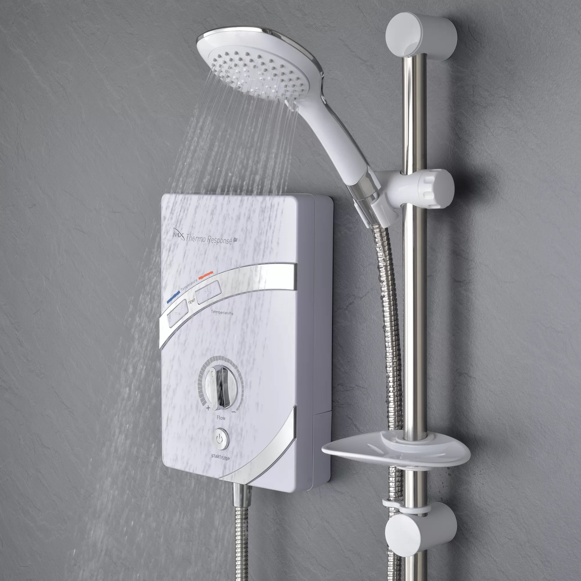 The Mx Group Response Qi Thermostatic Power Shower With Slide Bar Shower Head Wayfair Co Uk