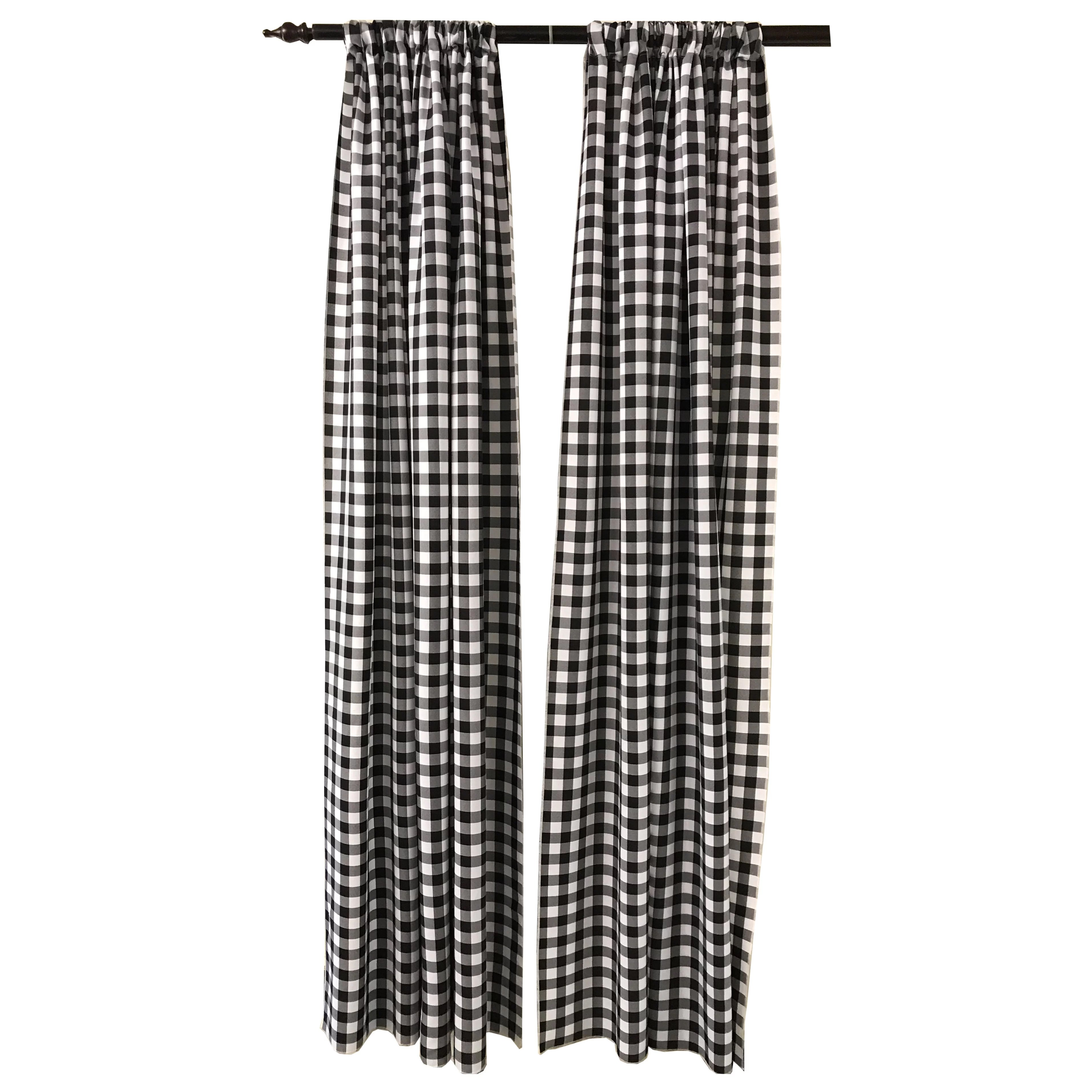 Grey And White Gingham Curtains Huggard Backdrop Gingham Room Darkening Rod Pocket Curtain Panels