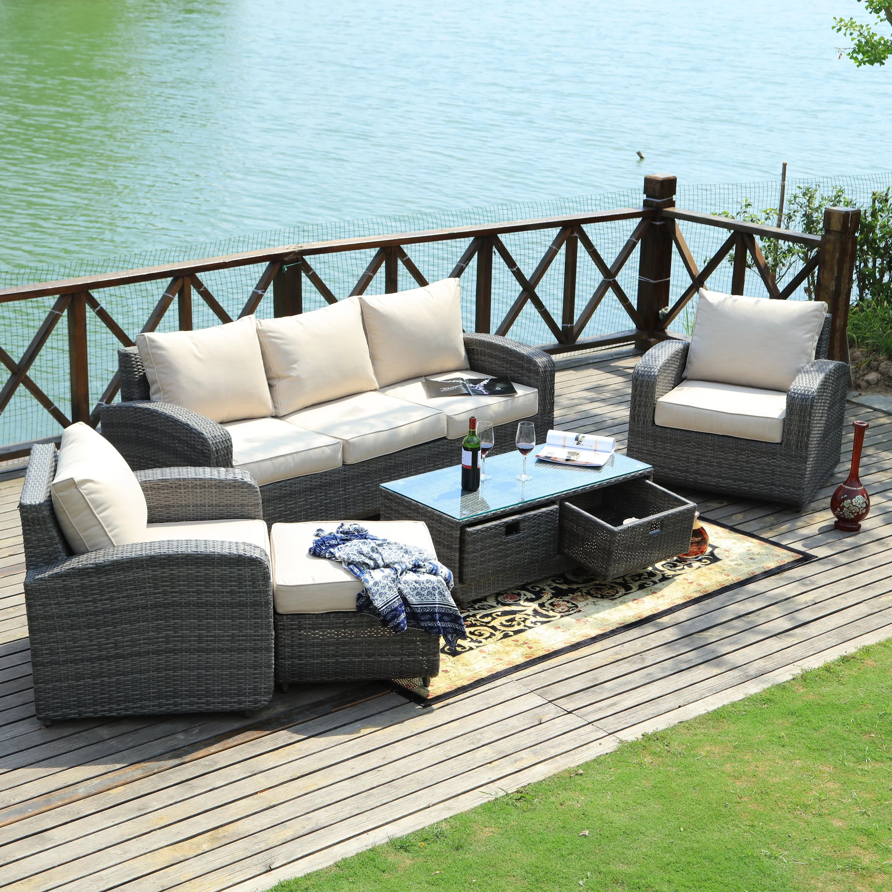 Baptist 6 Piece Rattan Sofa Set With Cushions Belmonte 5 Piece Rattan Sofa Seating Group With Cushions