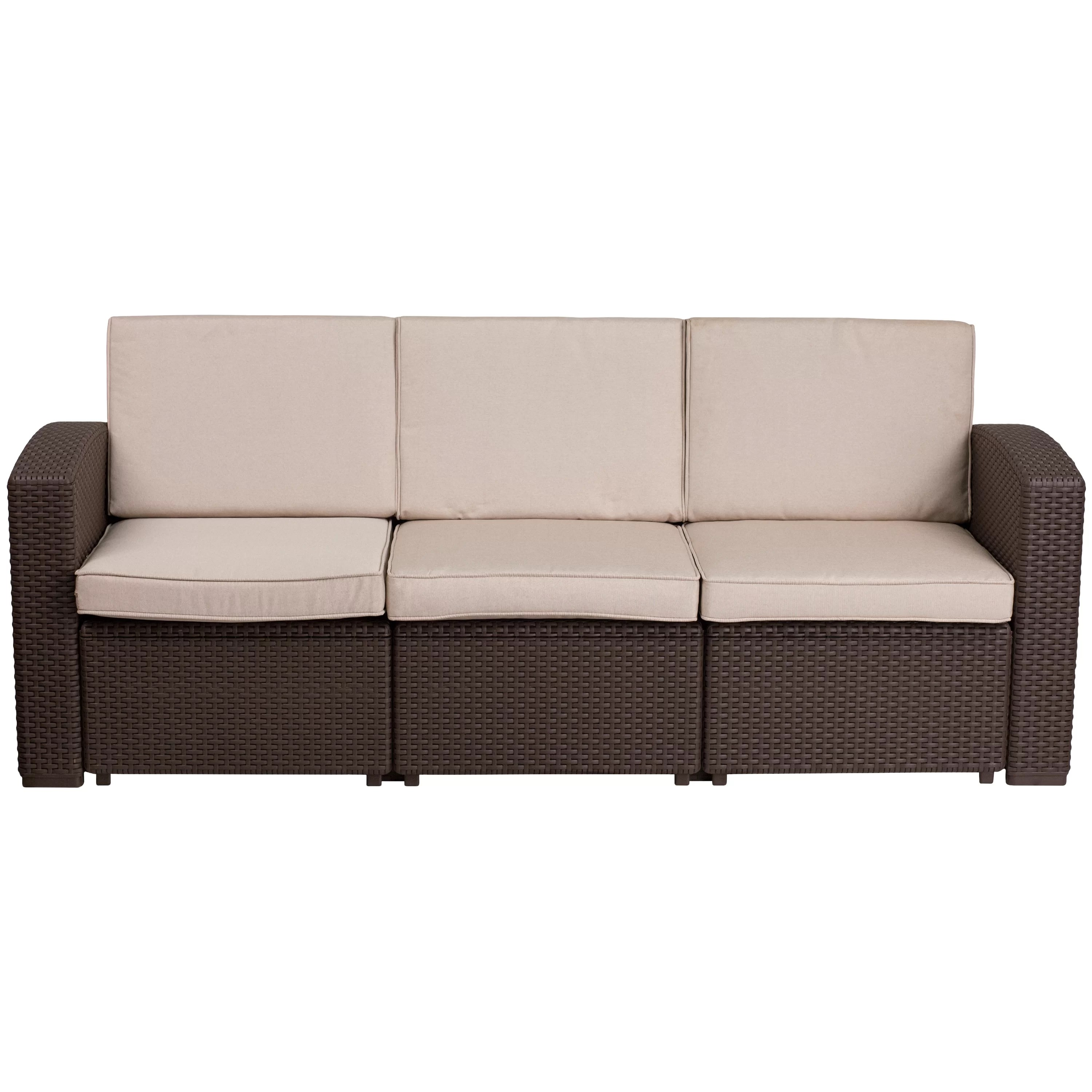 Rattan Sofa Clifford Faux Rattan Sofa With Cushions