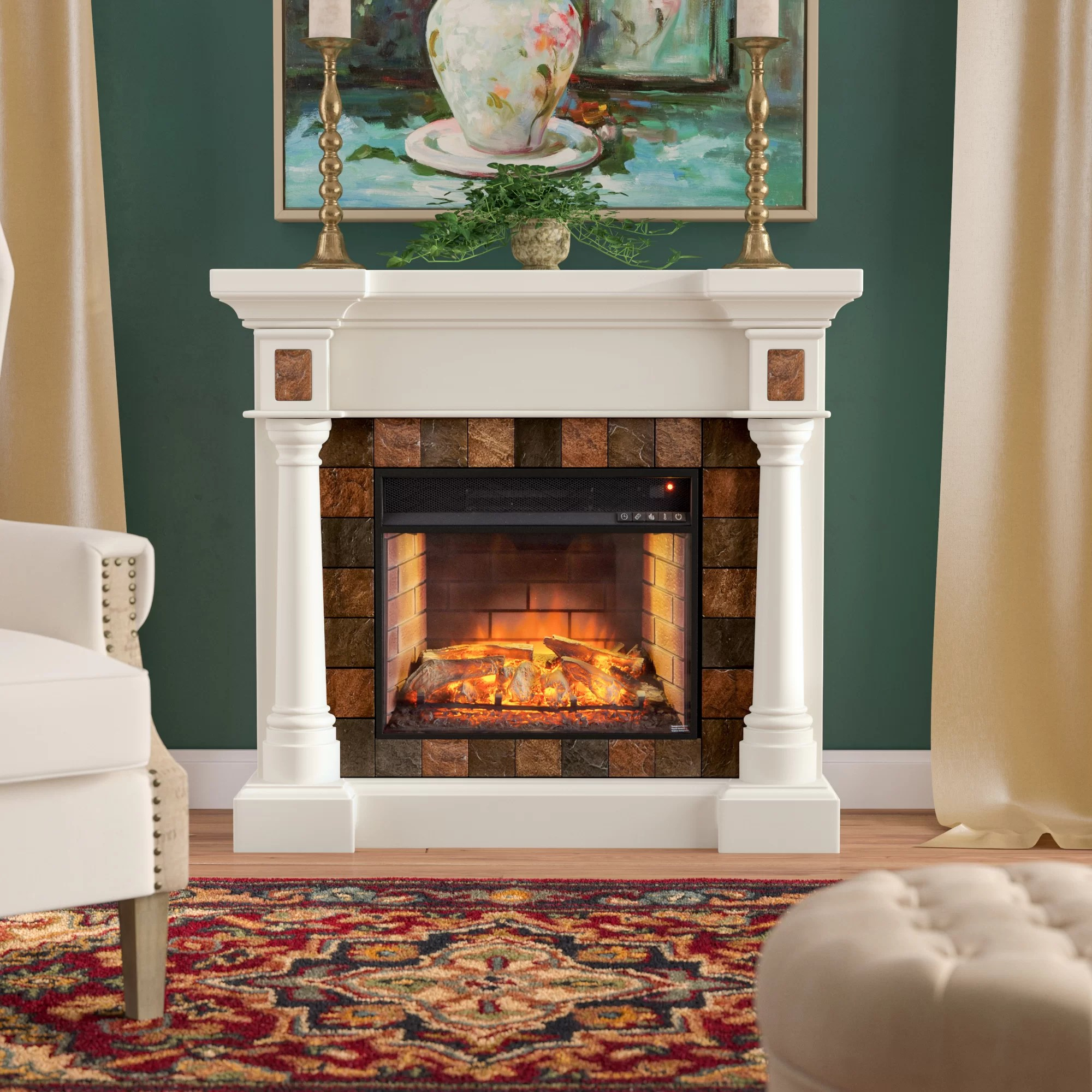 Living Room Electric Fireplace Contreras Infrared Electric Fireplace