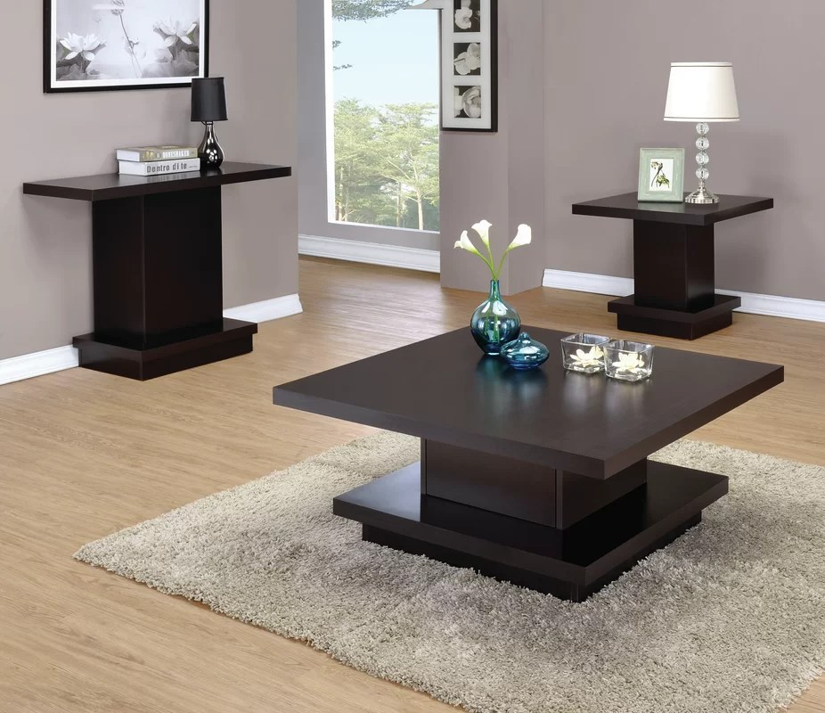 Zipcode Design Kassidy 3 Piece Coffee Table Set \ Reviews Wayfair - 3 piece living room table set