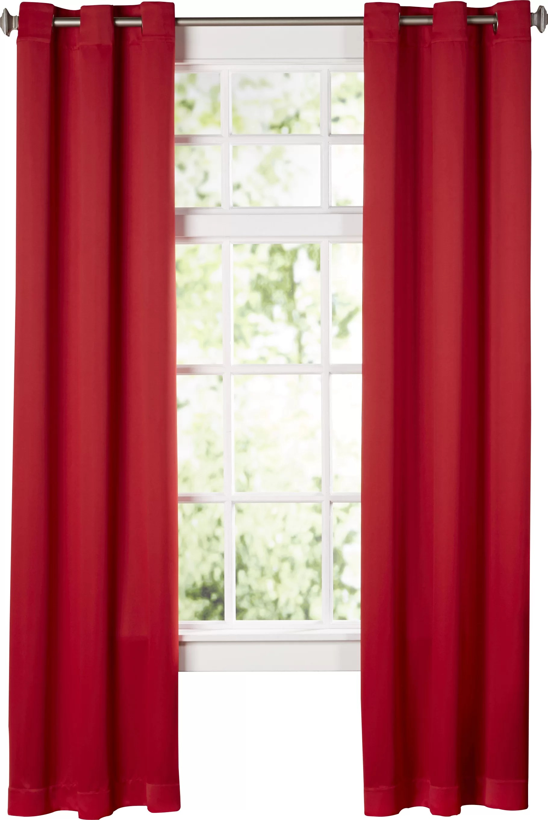 Dark Red Blackout Curtains Sanders Solid Blackout Grommet Single Curtain Panel