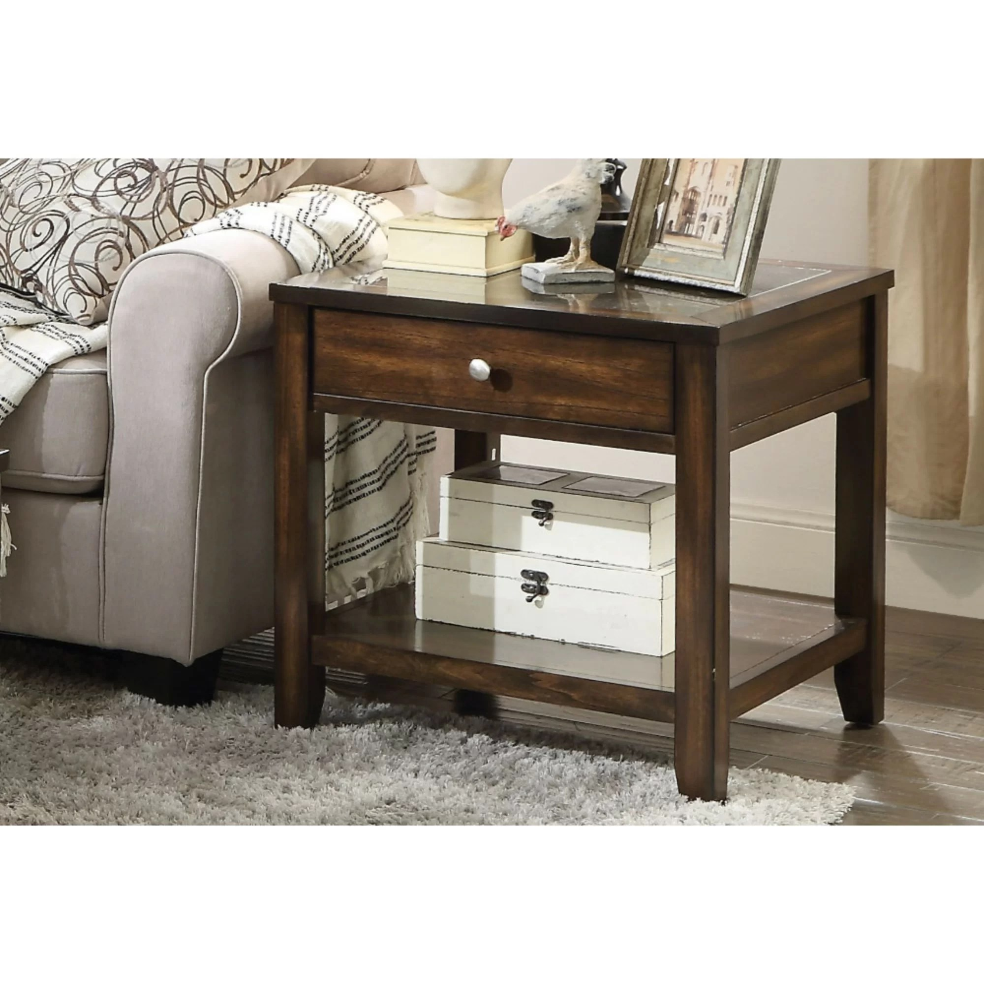 Coffee And End Tables With Storage Albie Top Marble Inlay End Table With Storage