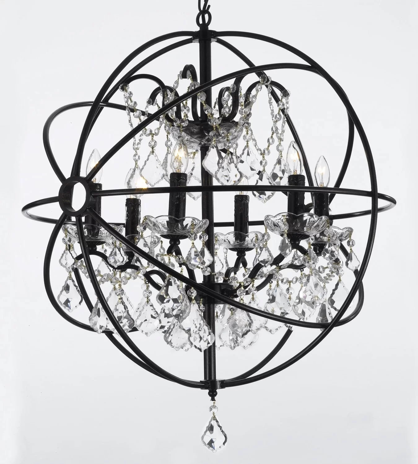 Black Wrought Iron Kitchen Light Fixtures Calderdale Orb 6 Light Led Globe Chandelier