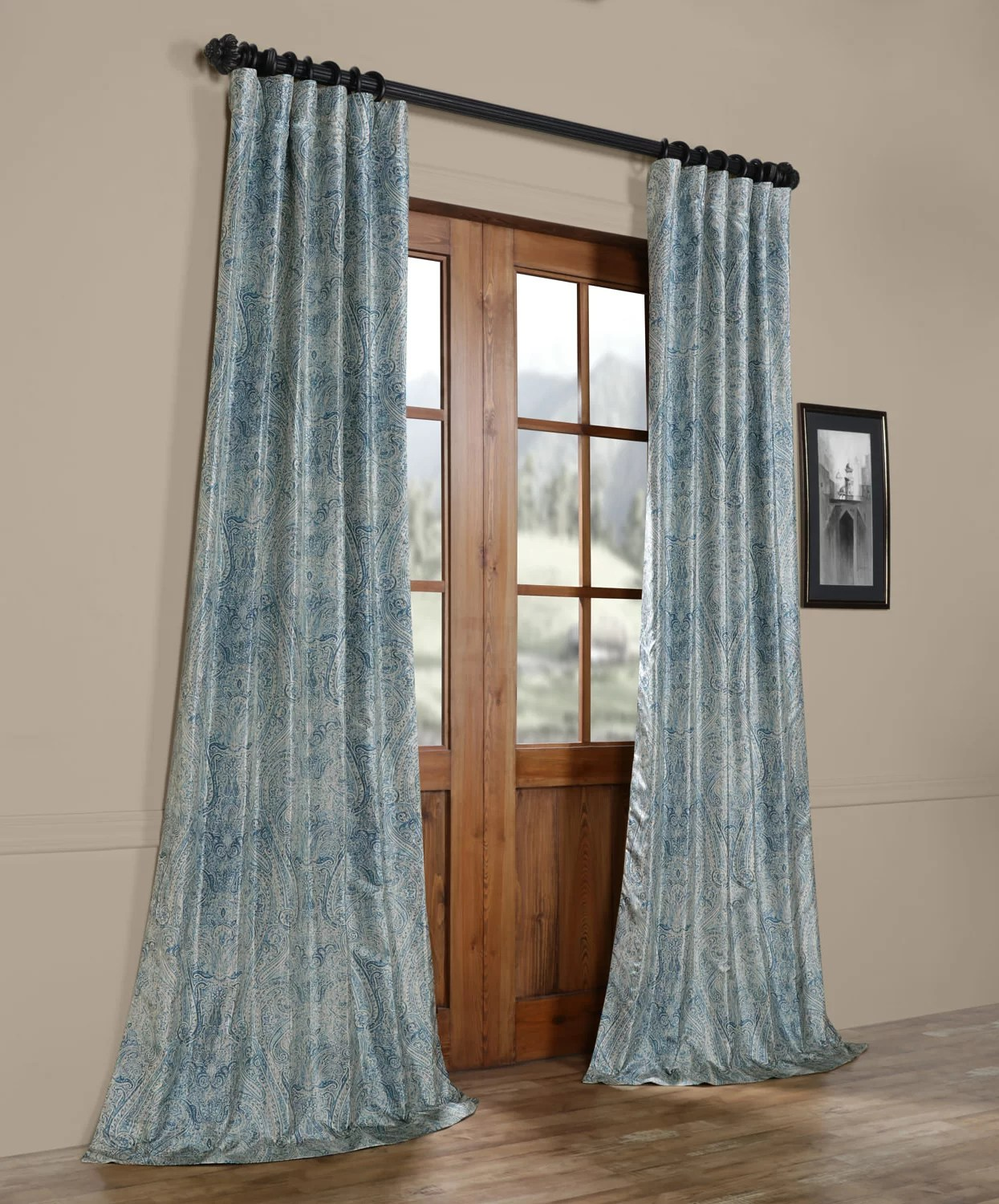 Faux Silk Curtains Mariko Printed Faux Silk Taffeta Blackout Single Curtain Panel