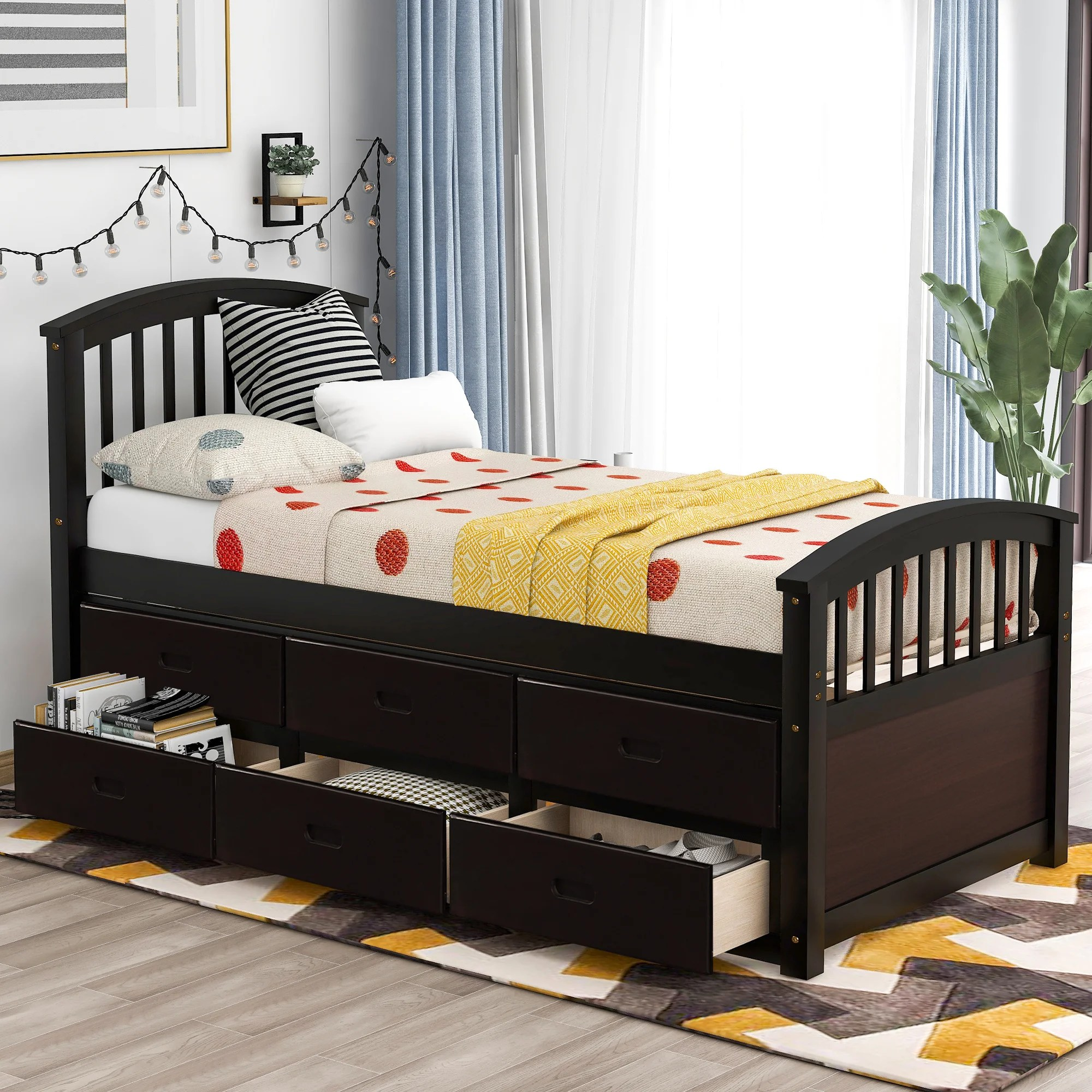 Harriet Bee Torbay Twin Plateform Bed With 6 Drawers Wayfair