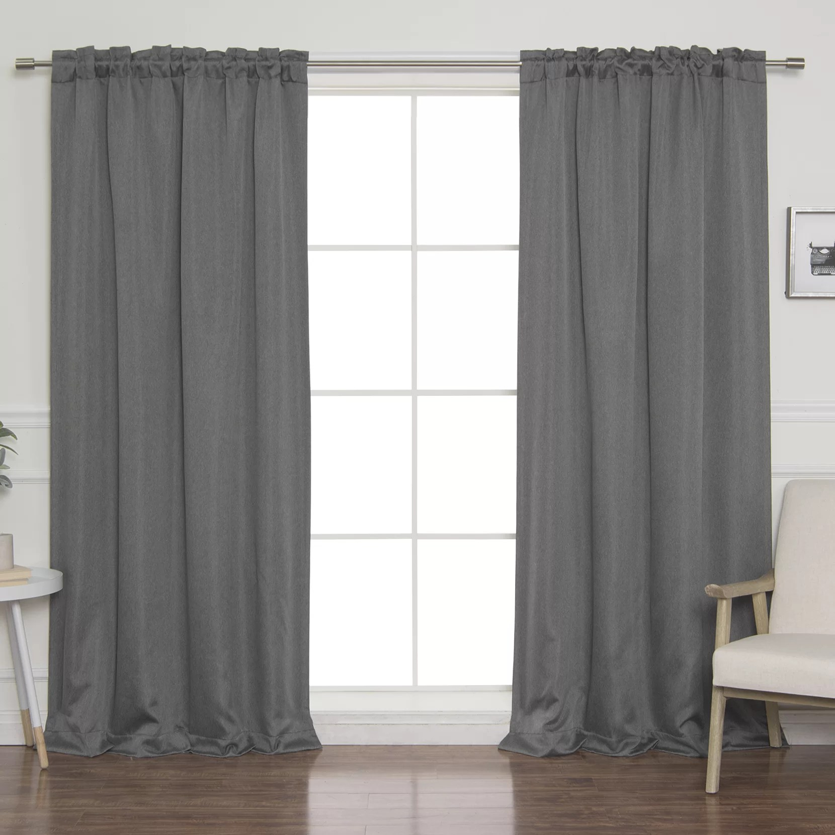 Tab Top Curtain Vicenta Basketweave Faux Linen Solid Blackout Back Tab Top Curtain Panels