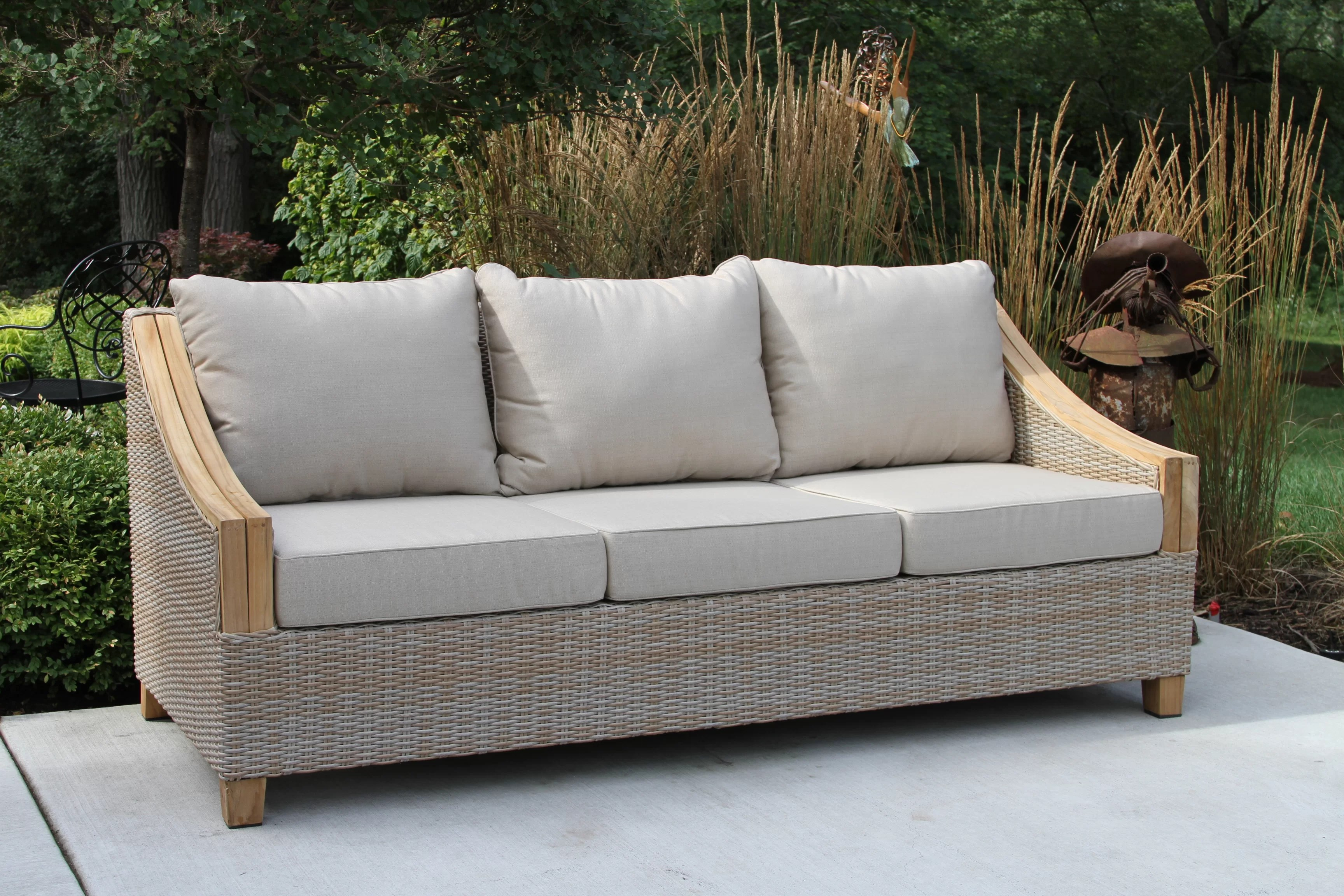 Donalsonville Teak Patio Sofa With Sunbrella Cushions Reviews Birch Lane