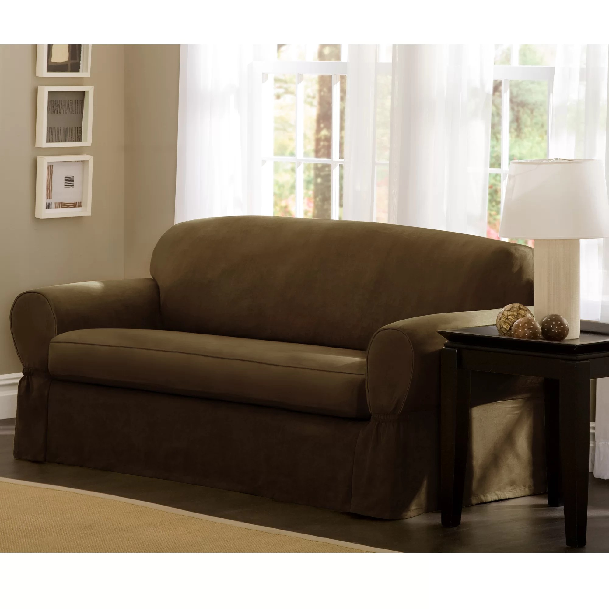 Faux Leather Sofa In A Box Box Cushion Sofa Slipcover