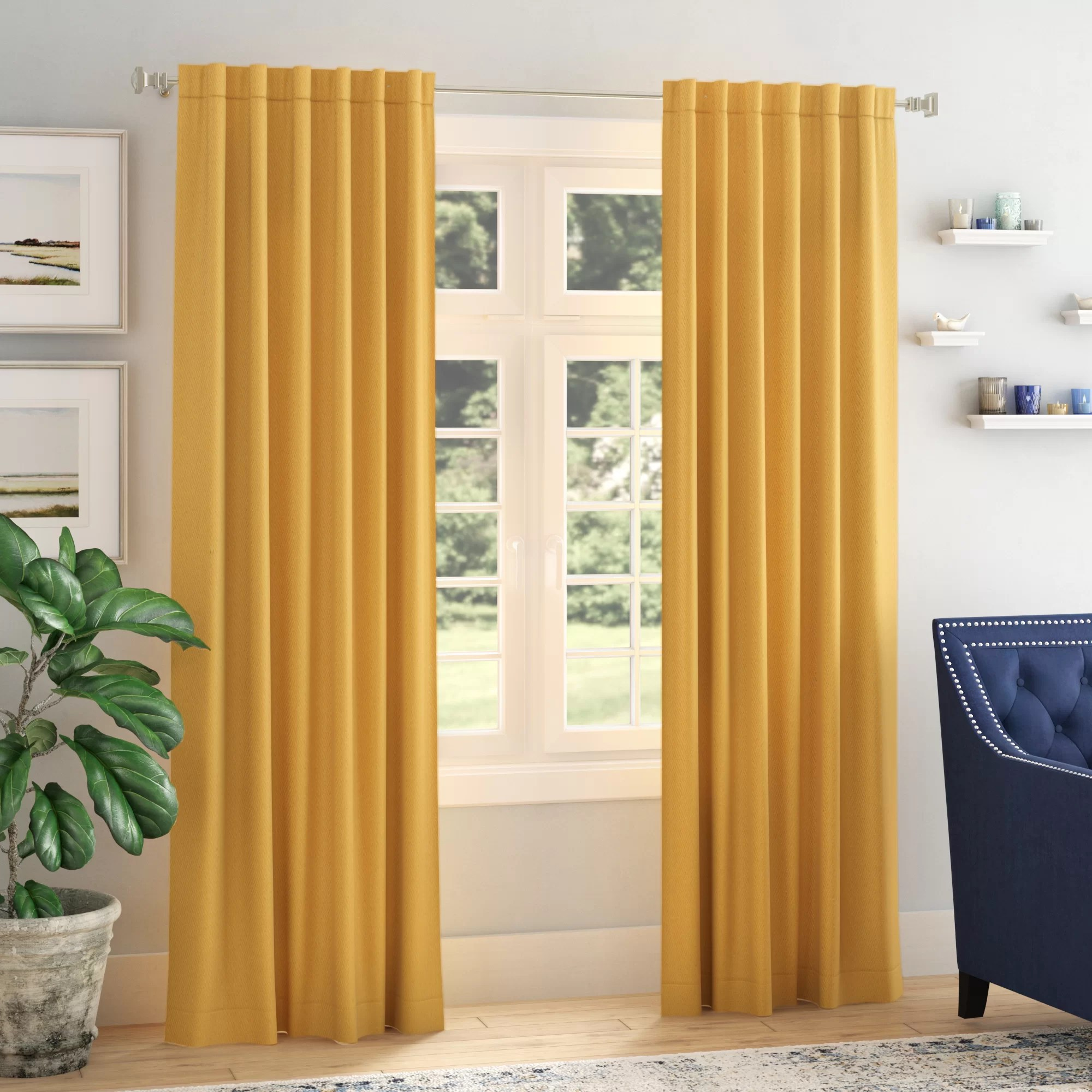 Panel Curtain Rods Destinie Indoor Solid Color Blackout Curtain Rod Pocket Panel Pair