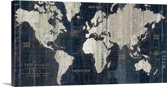 Great Big Canvas \u0027Old World Map Blue\u0027 Graphic Art Print  Reviews