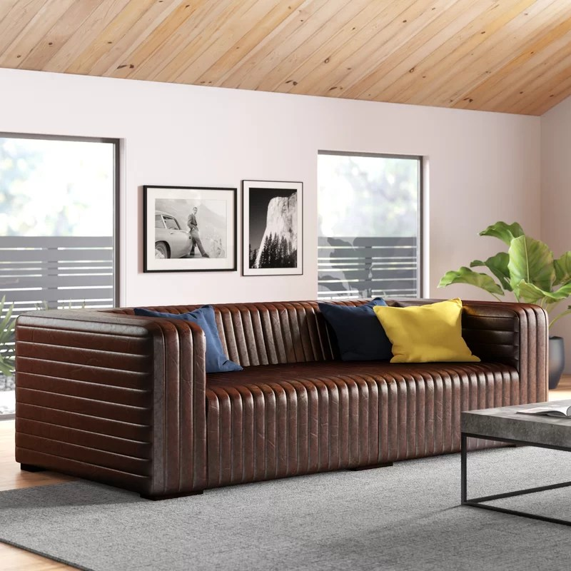 Evan Leather Sofa Reviews Allmodern