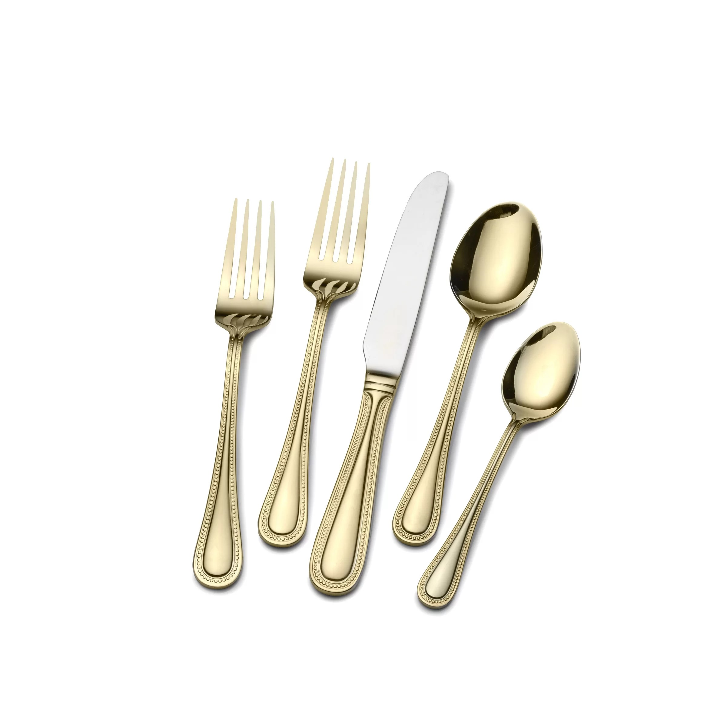 Gold Cutlery Sets Gold Plated Euro Bead 45 Piece Flatware Set Service For 8