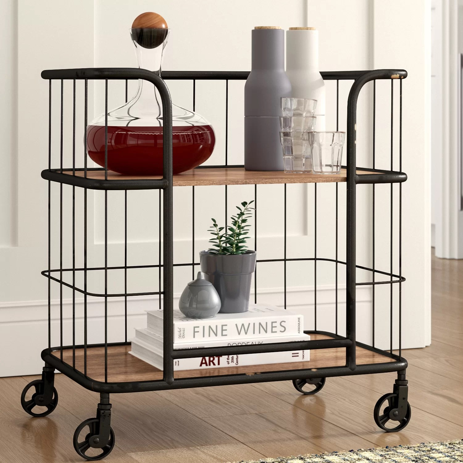A Frame Trolley Lorient Industrial Wood And Metal Trolley Bar Cart