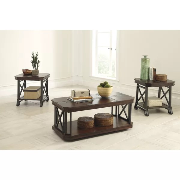 Loon Peak Antlers 3 Piece Coffee Table Set Wayfair - 3 piece living room table set