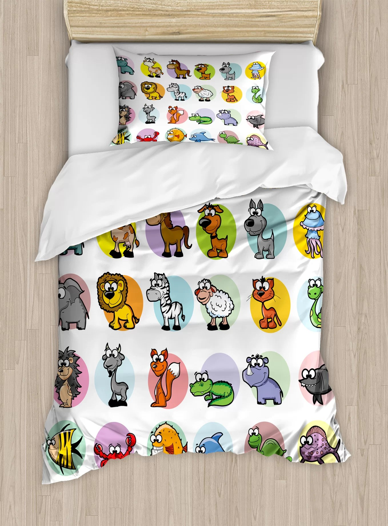 Funny Duvet Covers Funny Cute Cartoon Style Animals Set Colorful Dots Doodle Jungle Life Kids Room Decor Duvet Cover Set