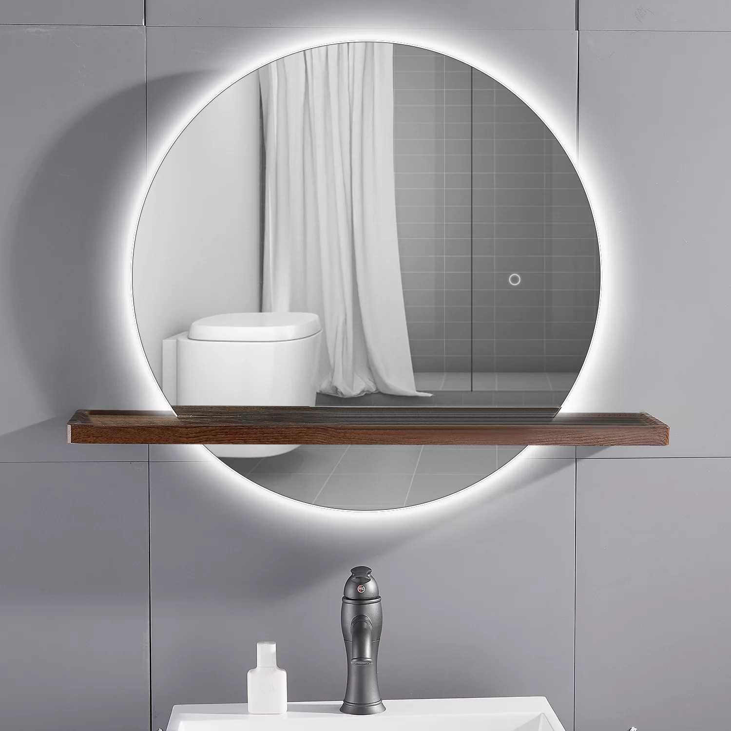 Latitude Run Modern Frameless Lighted Bathroom Mirror With Shelves Reviews Wayfair